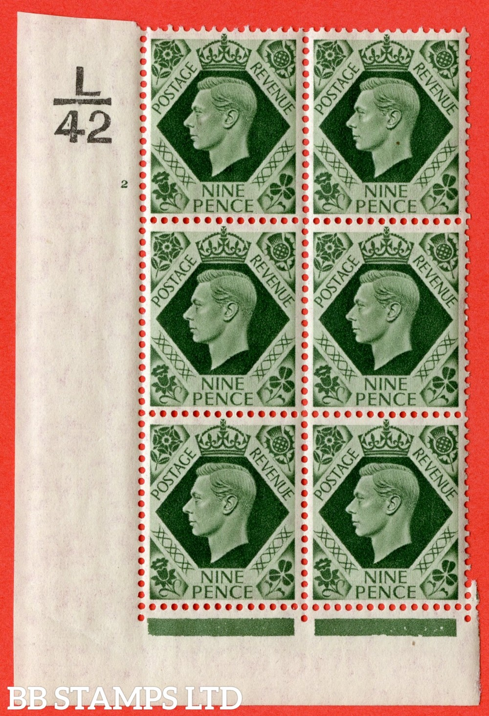 "SG. 473. Q25 b. 9d Olive-Green. A fine lightly mounted mint "" Control K42 cylinder 2 no dot "" control block of 6 with perf type 2 I/E with listed variety "" Serif touched out but dot remains "" Row 18/1."