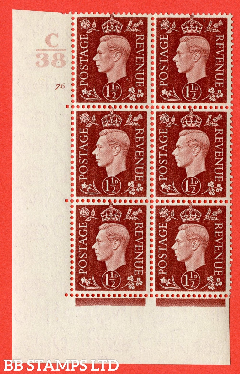 """SG. 464. Q7. 1½d Red-Brown. A superb UNMOUNTED MINT """" Control C38 cylinder 76 no dot """" block of 6 with perf type 5 E/I."""