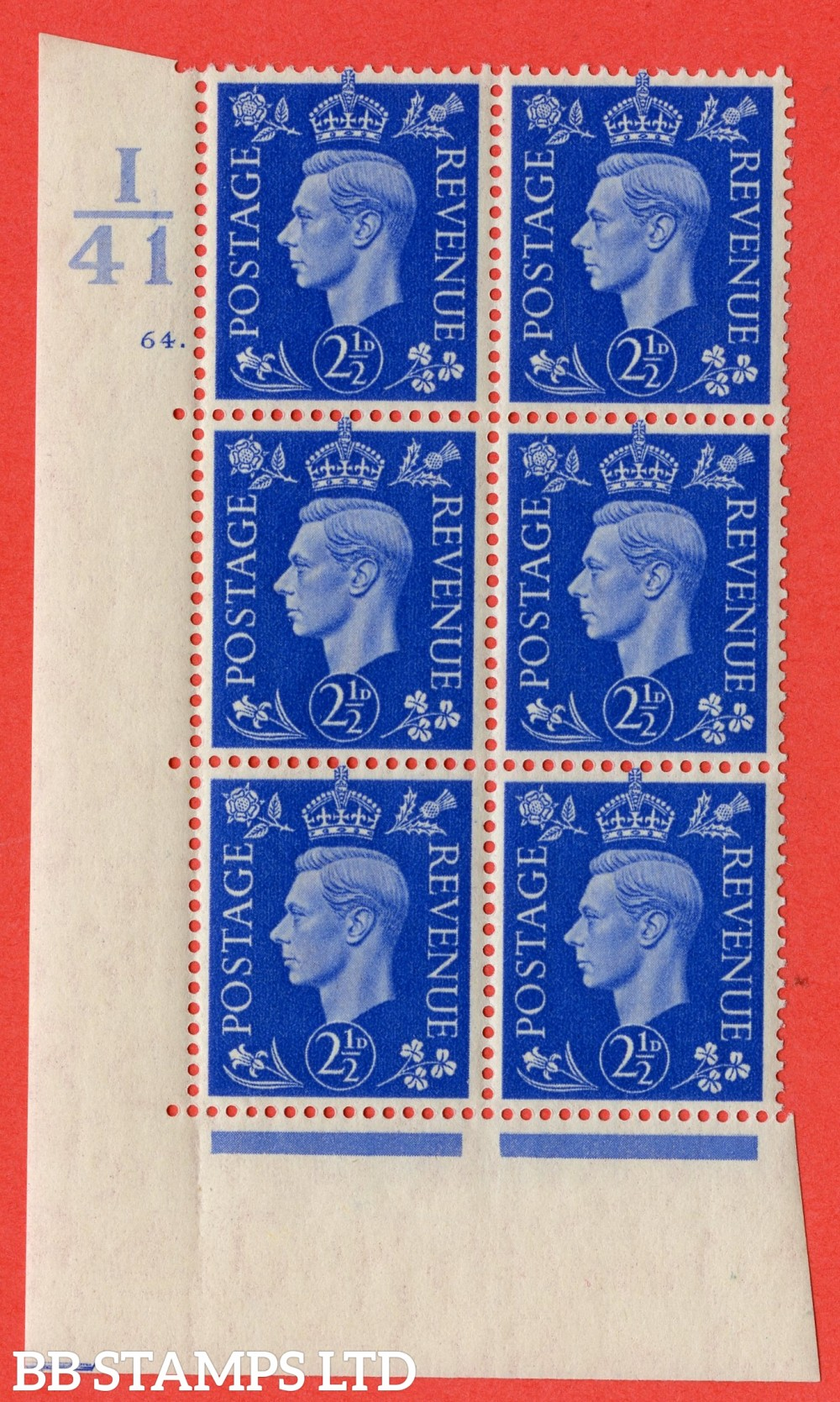 "SG. 466. Q13. 2½d Ultramarine. A superb UNMOUNTED MINT "" Control I41 cylinder 64 dot "" control block of 6 with perf type 5 E/I."