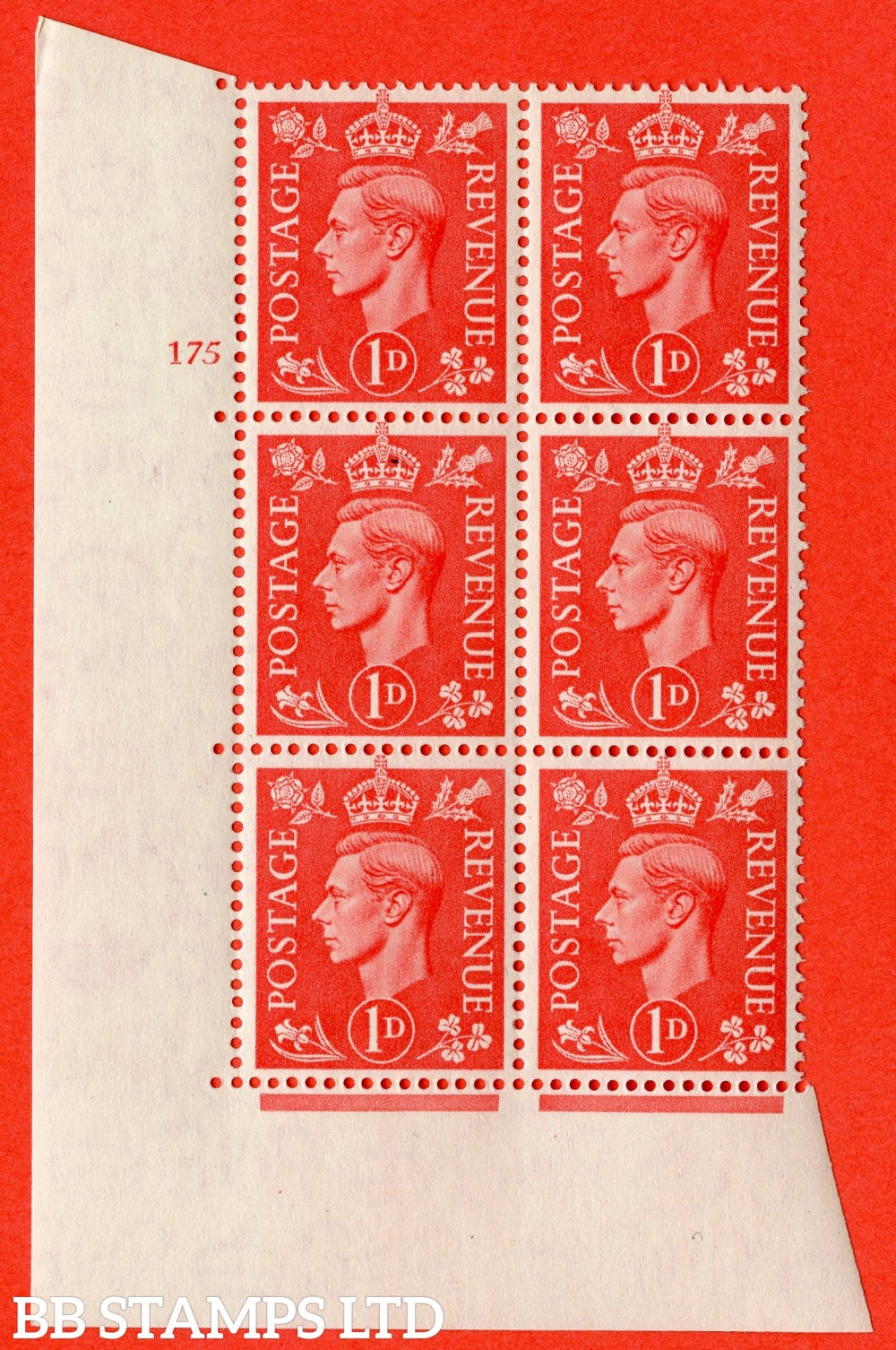 "SG. 486. Q5. 1d Pale scarlet. A superb UNMOUNTED MINT "" No Control   cylinder 175 no dot "" control block of 6 with perf type 5 E/I."