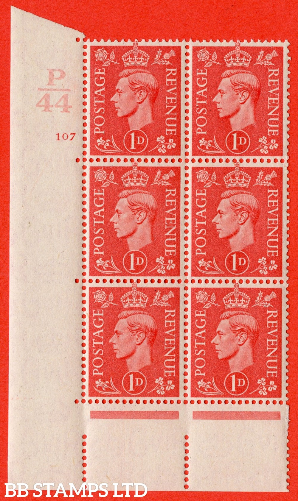 "SG. 486. Q5. 1d Pale scarlet. A superb UNMOUNTED MINT "" Control P44  cylinder 107 no dot "" control block of 6 with perf type 5 E/I."