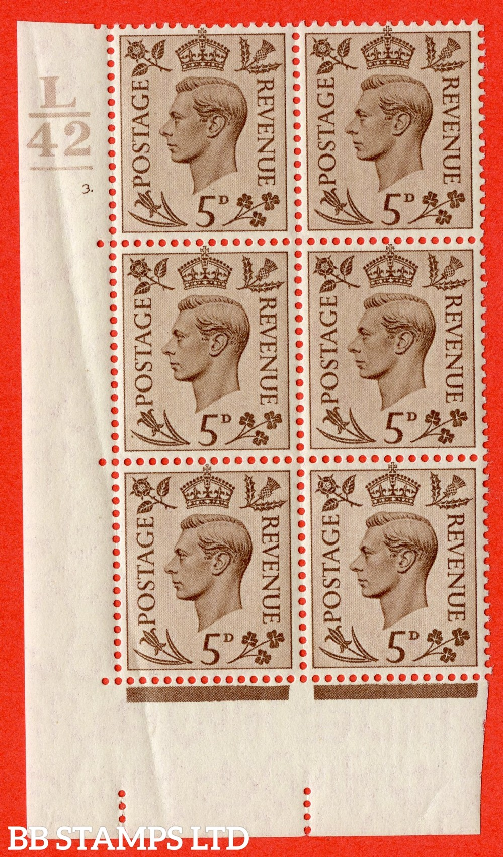 """SG. 469. Q21. 5d Brown. A superb UNMOUNTED MINT.  """" Control L42. 1 Bar cylinder 3 dot """" control block of 6 with perf type 5 E/I. Slight crease."""