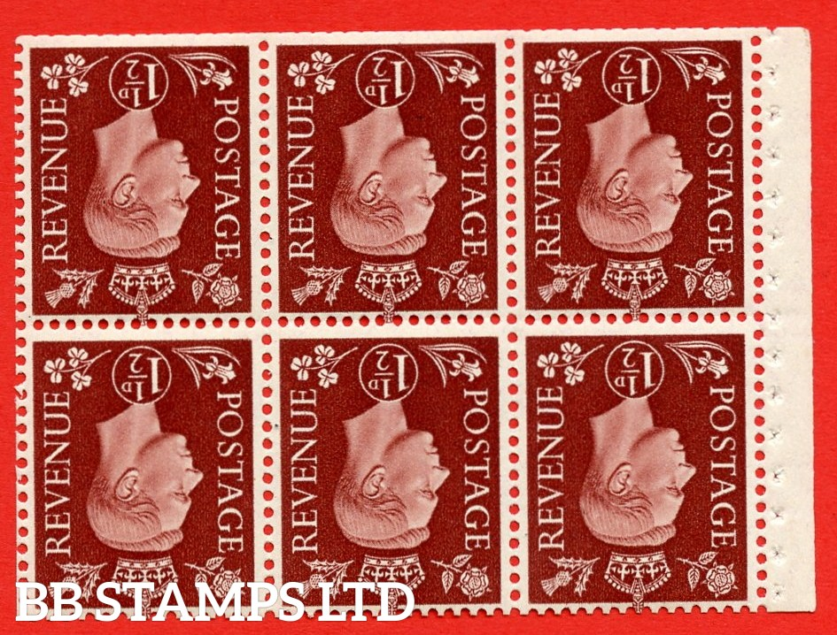 QB21a Perf Type I 1½d Red-Brown x 6 Pane, UNMOUNTED MINT Watermark Inverted. ( SG. 464cw ) Perf type I. Trimmed Perfs.