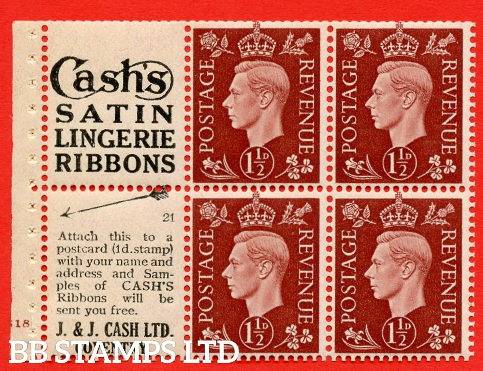 """QB23 Perf Type B4(E) (2) No.21  1½d Red-Brown x 6 Pane, UNMOUNTED MINT.Cylinder Pane G18 no dot ( SG. 464b ) Perf type B4(E). """"Cash's satin lingerie ribbons / samples of cash's ribbons covetry"""" at foot.  Trimmed Perfs."""