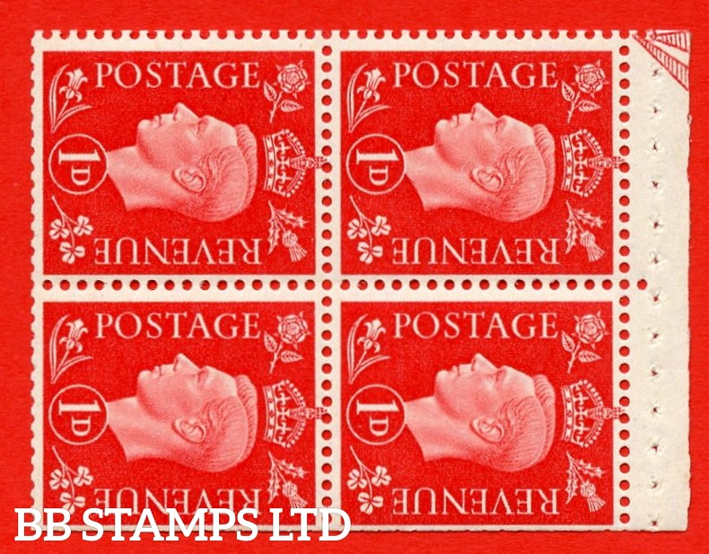 """SG. 463ab. QB11. 1d scarlet. SIDEWAYS WATERMARK Left. A super MOUNTED MINT booklet pane. Perf Type """" E """". Trimmed Perfs."""