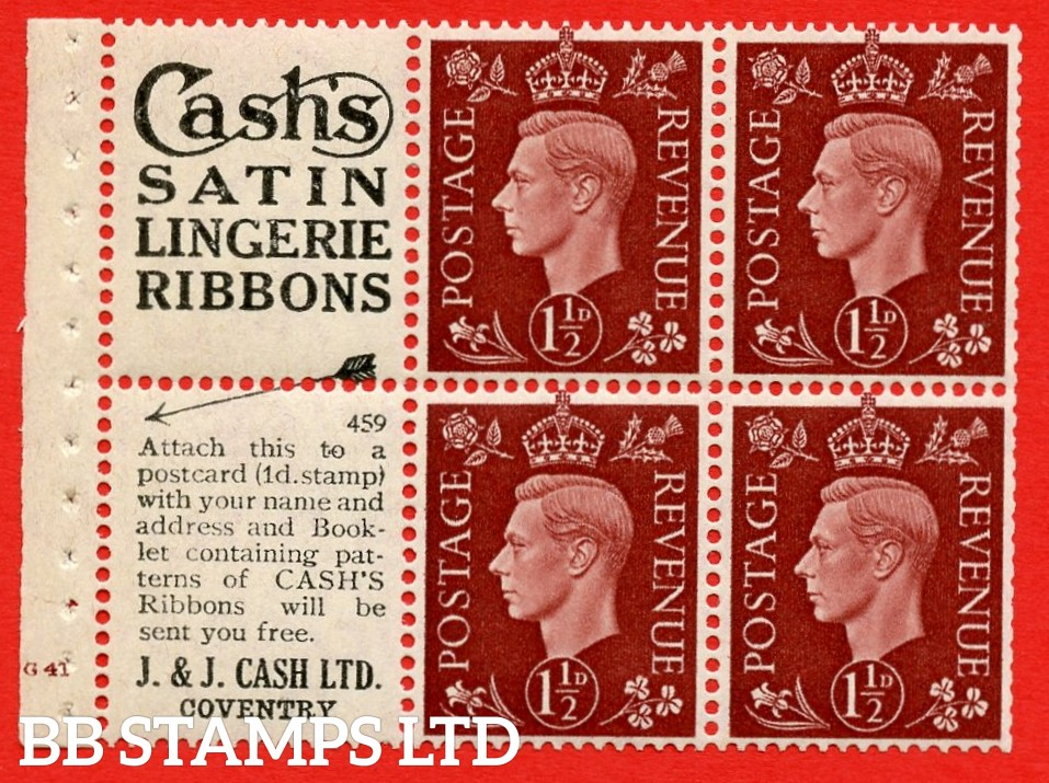 """QB23 Perf Type B3(I) (5) No. 459 1½d Red-Brown x 6 Pane, UNMOUNTED MINT.Cylinder Pane G41 no dot ( SG. 464b ) Perf type B3(I). """"Cash's satin lingerie ribbons / Booklet Containing patterns"""" . Trimmed Perfs"""