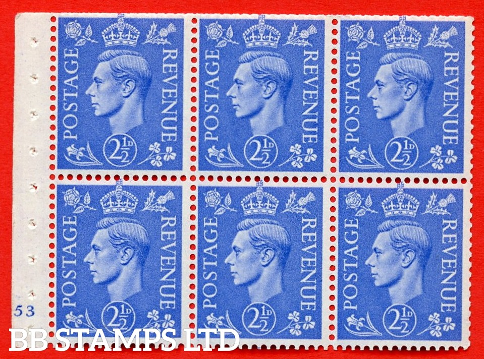 """SG. 489f. QB33. 2½d blue. A fine UNMOUNTED MINT complete Cylinder pane of 6 J53 No dot. Perf type """"B3(I)"""". Trimmed Perfs."""