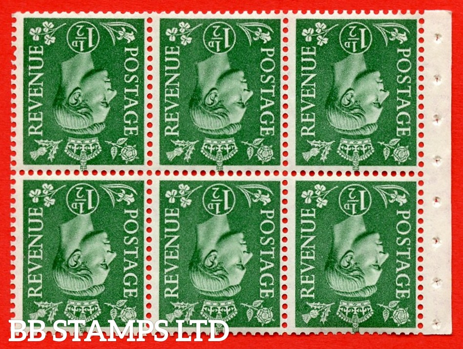 """SG. 505bw. QB26a. 1½d pale green. A superb UNMOUNTED MINT complete booklet pane. Perf type """" I """". Good Perfs"""