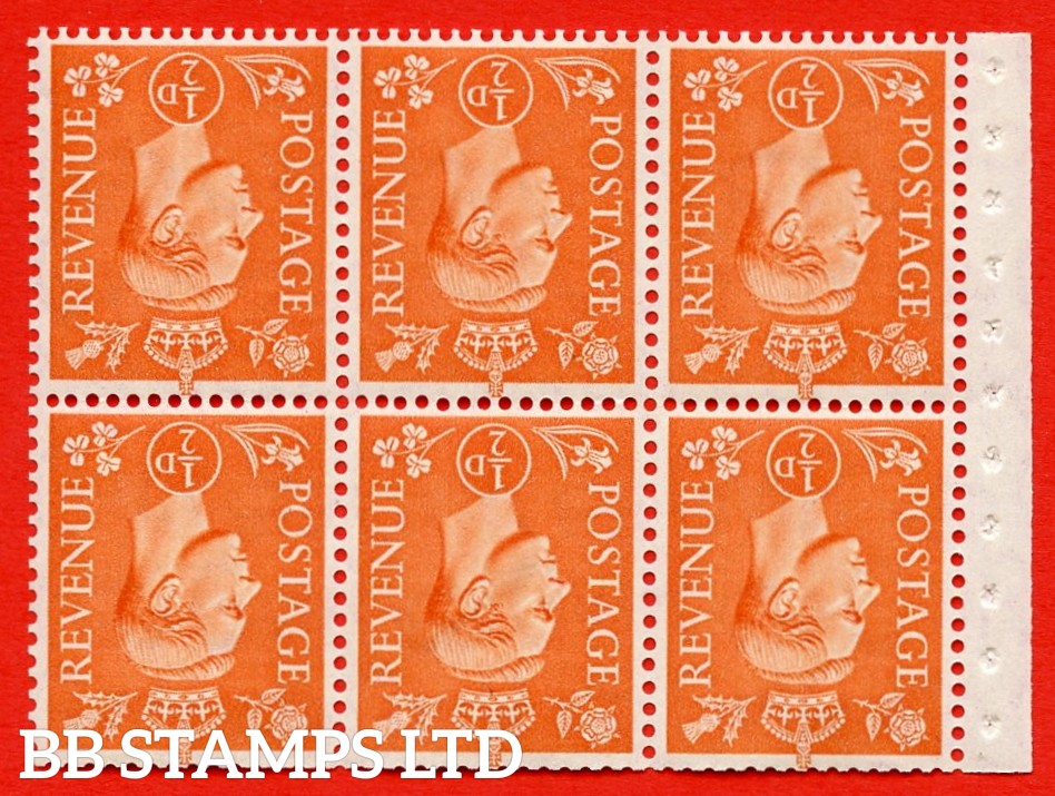 """SG. 503dw. QB7a. ½d orange. A fine UNMOUNTED MINT. INVERTED WATERMARK. complete booklet pane of 6. Perf type """" Iet """". Good Perfs."""