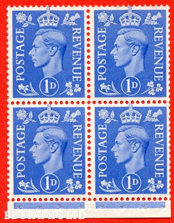 """SG. 504g. QB16a. 1d ultramarine. A fine UNMOUNTED MINT complete booklet pane of 4. Perf type """" I """". Good Perfs."""