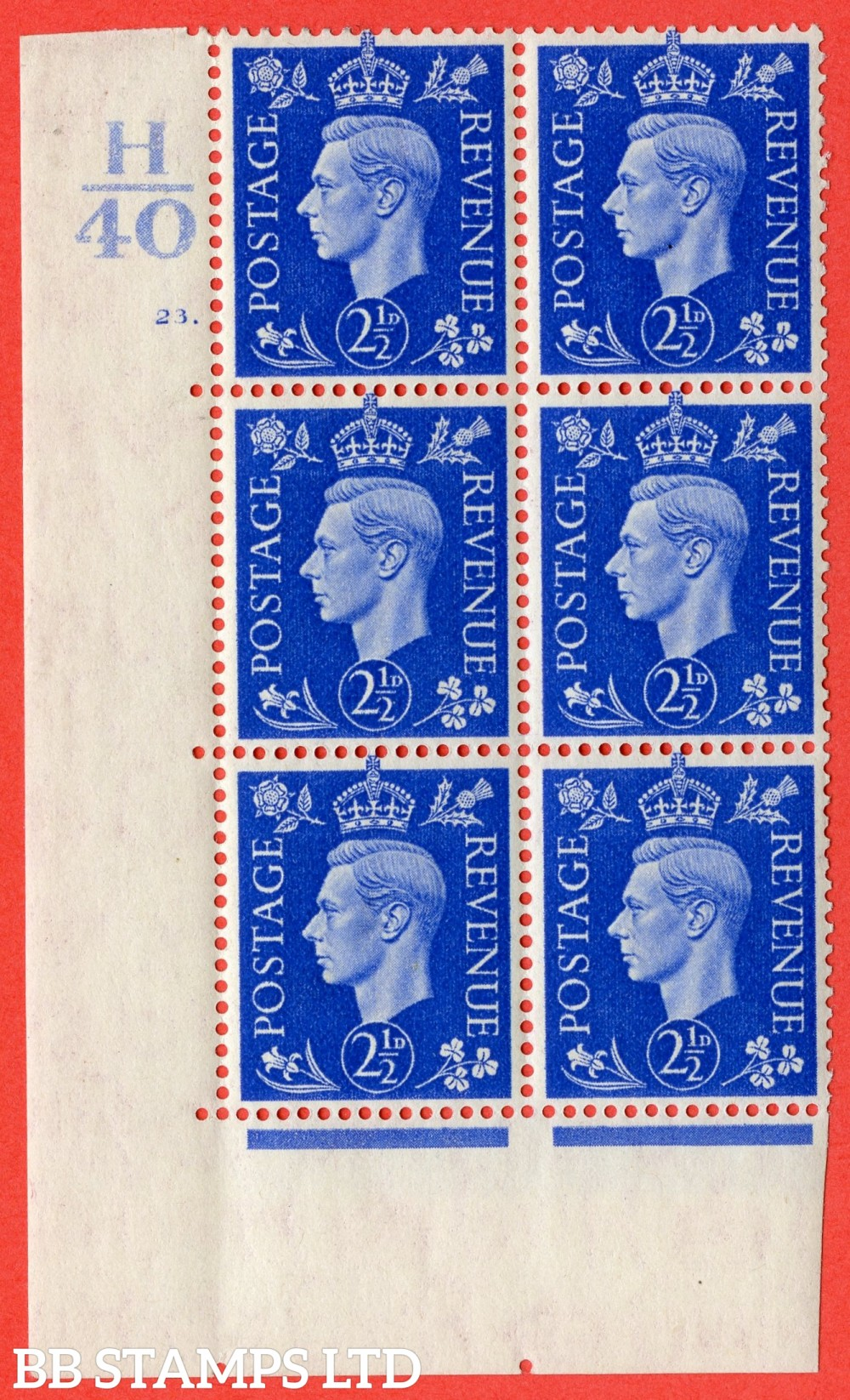 """SG. 466. d. Q13. 2½d Ultramarine.  A fine lightly mounted mint """" Control H40 cylinder 23 dot """" control block of 6 with perf type 5 E/I."""