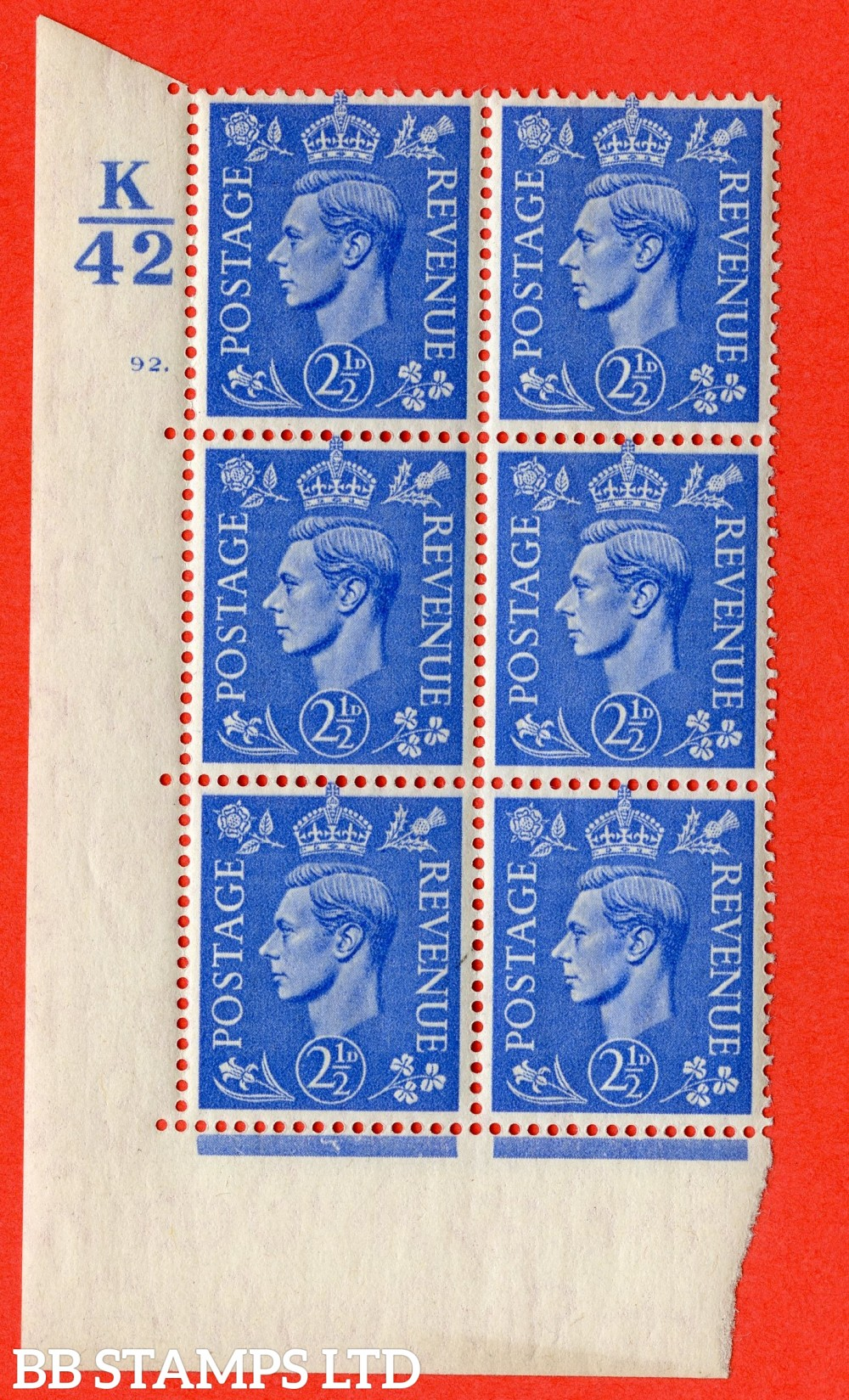 "SG. 489. Q14. 2½d Light ultramarine. A superb UNMOUNTED MINT "" Control K42 cylinder 92 dot "" control block of 6 with perf type 5 E/I."