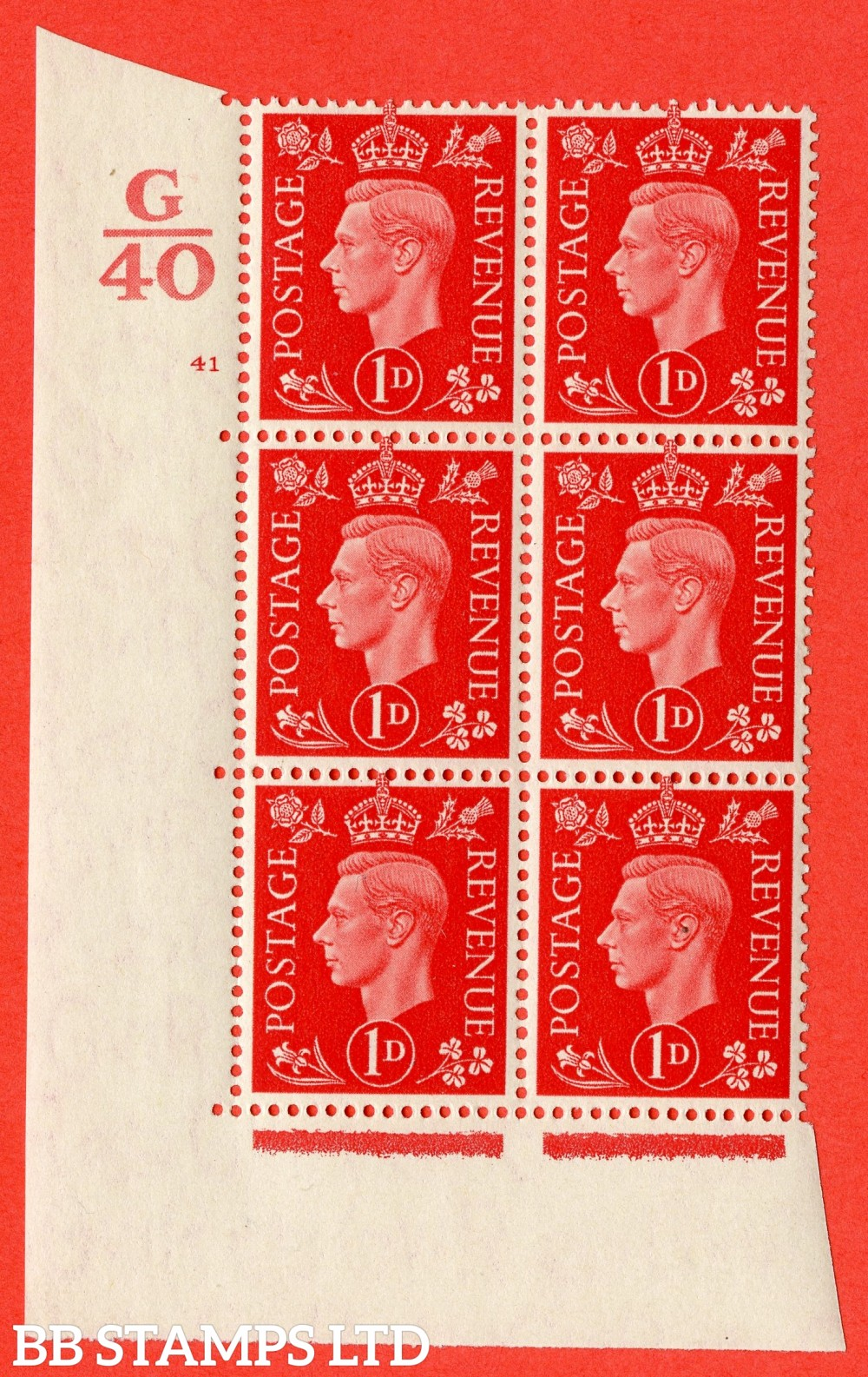 "SG. 463. Q4. 1d Scarlet. A superb UNMOUNTED MINT "" Control G40 cylinder 41 no dot "" block of 6 with perf type 5 E/I with marginal rule."
