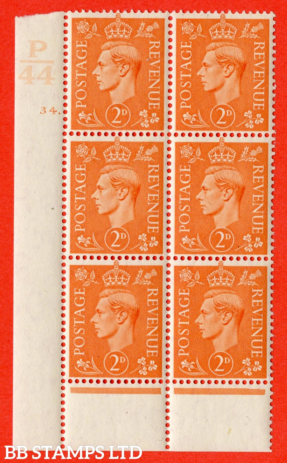 "SG. 488. Q11. 2d Pale Orange. A fine lightly mounted mint "" Control P44 cylinder 34 dot "" control block of 6 with perf type 6 I/E."
