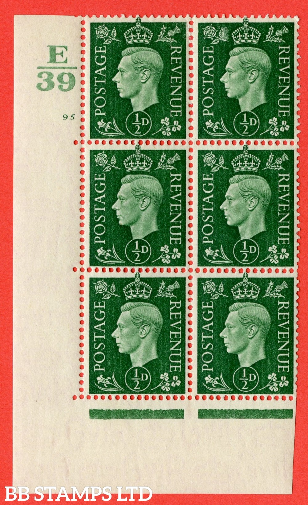 "SG. 462. Q1. ½d Green. A fine lightly mounted mint "" Control E39 cylinder 95 no dot "" block of 6 with perf type 5 E/I with marginal rule."