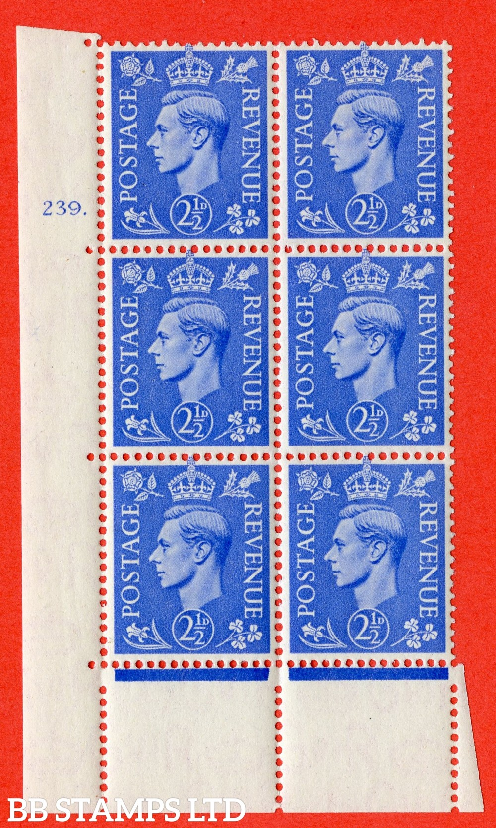 "SG. 489. Q14. 2½d Light ultramarine. A superb UNMOUNTED MINT "" No Control cylinder 239 dot "" control block of 6 with perf type 5 E/I"