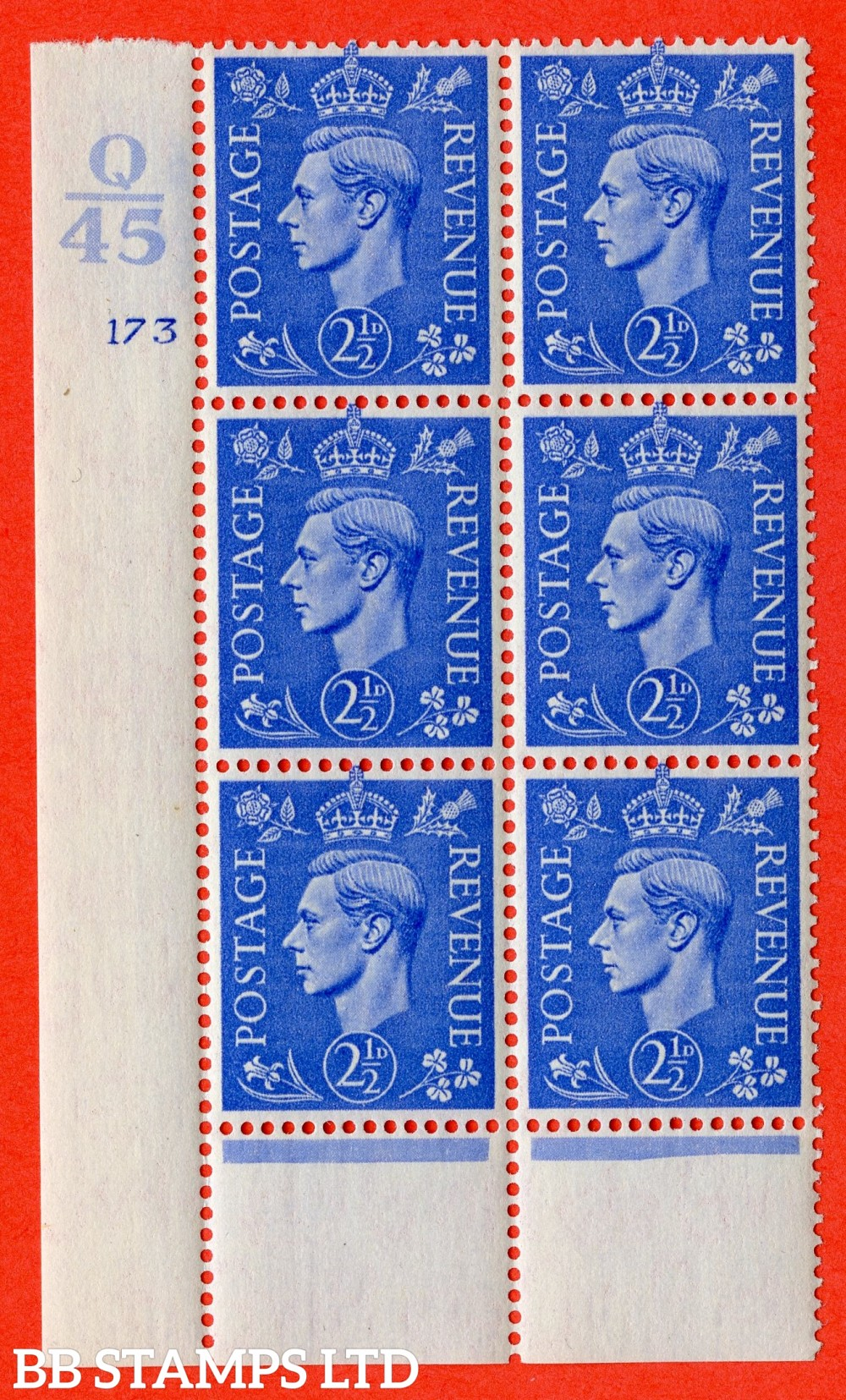 "SG. 489. Q14. 2½d Light ultramarine. A superb UNMOUNTED MINT "" Control Q45 cylinder 173 no dot "" control block of 6 with perf type 6 I/P."