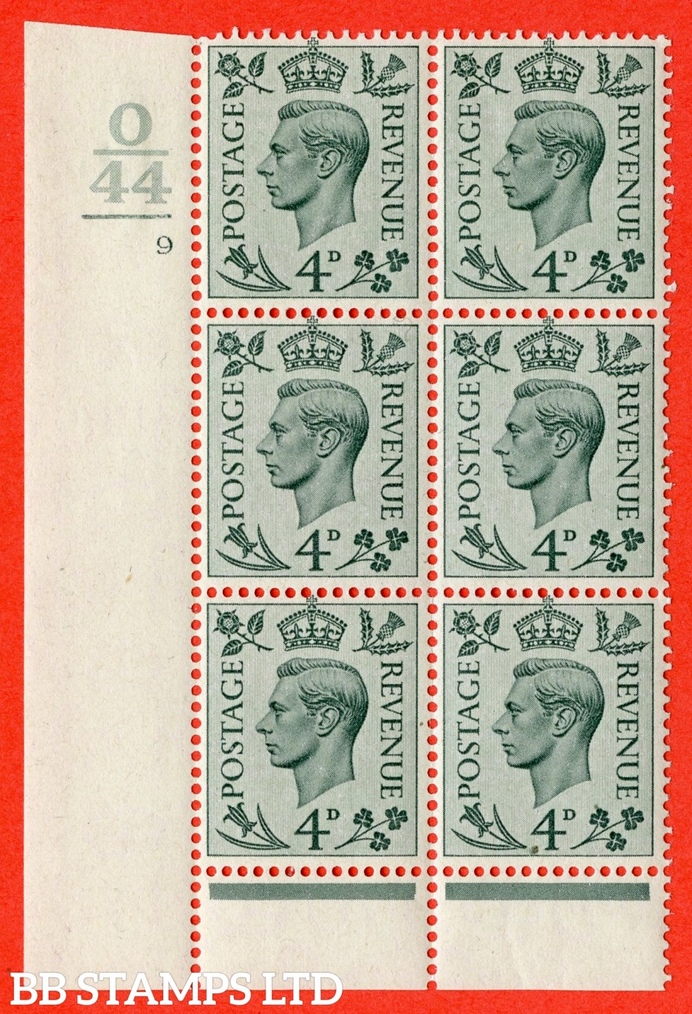"""SG. 468. Q19. 4d Grey-Green. A fine lightly mounted mint. """" Control O44. 1 Bar.  Cylinder 9 dot """" control block of 6 with perf type 6 I/P."""