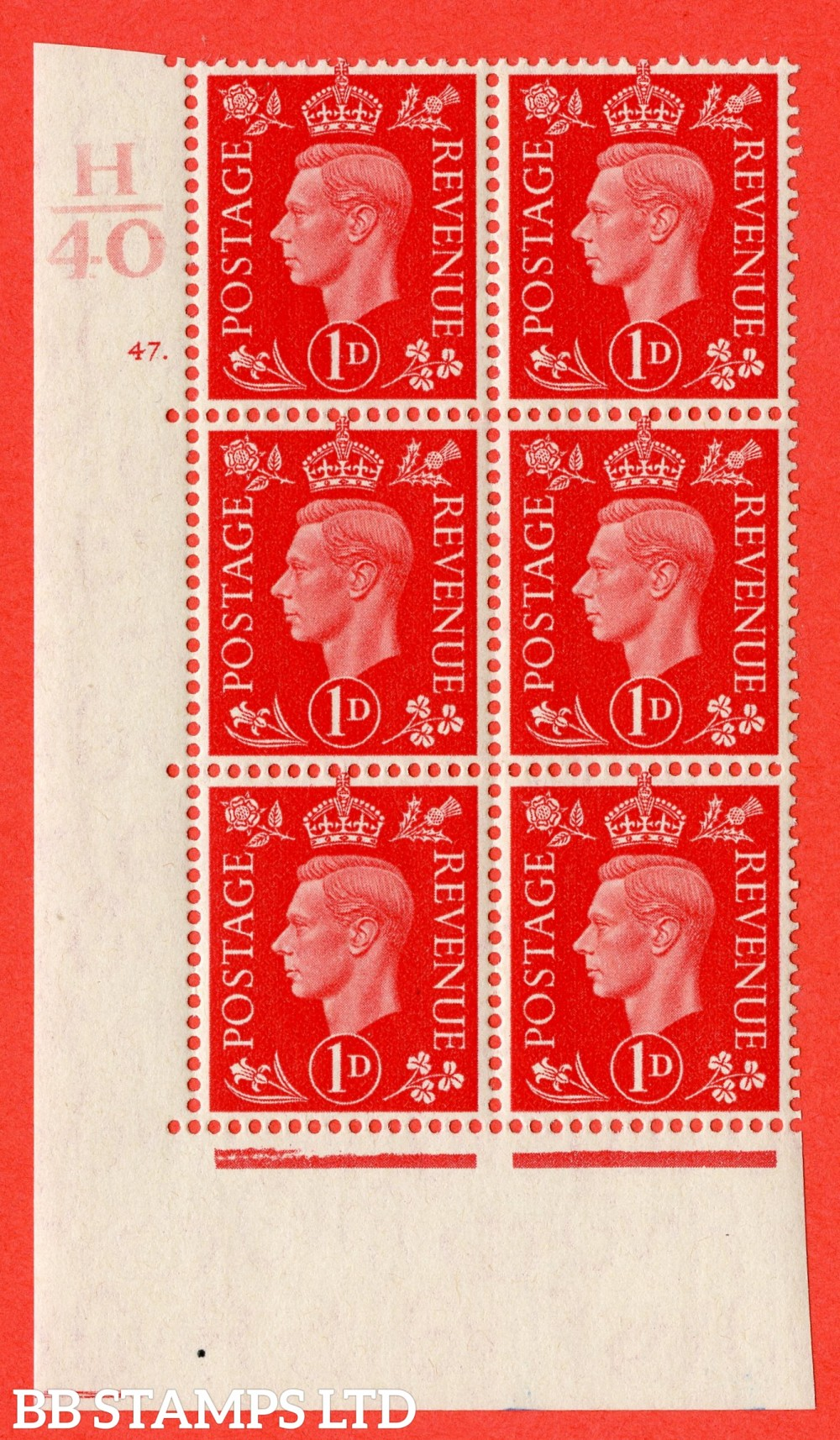 "SG. 463. Q4. 1d Scarlet. A superb UNMOUNTED MINT "" Control H40 cylinder 47 dot "" block of 6 with perf type 5 E/I."