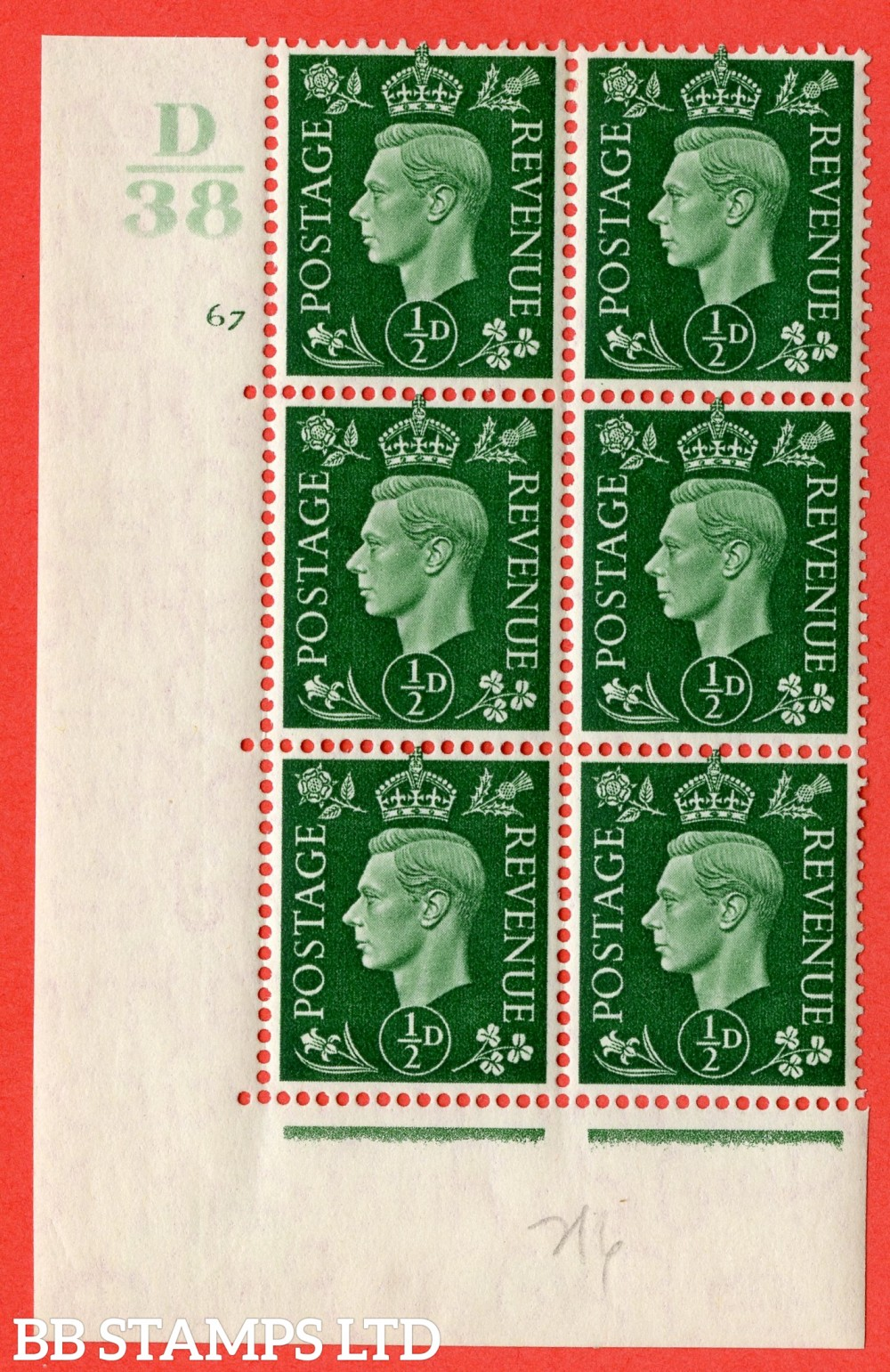 "SG. 462. Q1. ½d Green. A superb UNMOUNTED MINT "" Control D38 cylinder 67 no dot "" block of 6 with perf type 5 E/I."