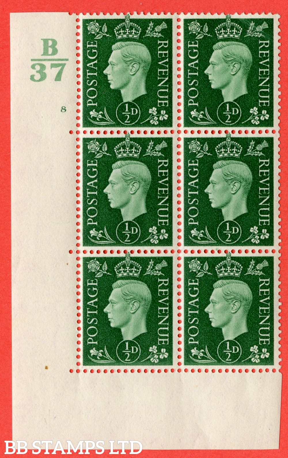"SG. 462. Q1. ½d Green. A fine lighly mounted mint "" Control B37 cylinder 8 no dot "" block of 6 with perf type 5 E/I  without marginal rule."