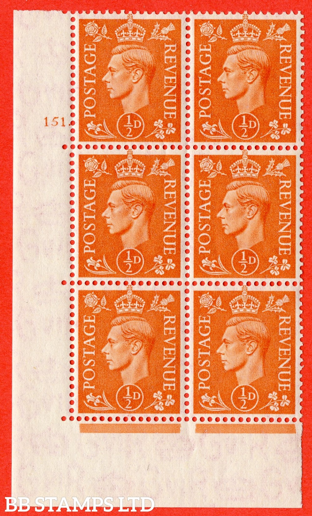 """SG. 503. Q3. ½d Pale Orange. A superb UNMOUNTED MINT """" No Control cylinder 151 dot """" control block of 6 with perf type 5 E/I."""