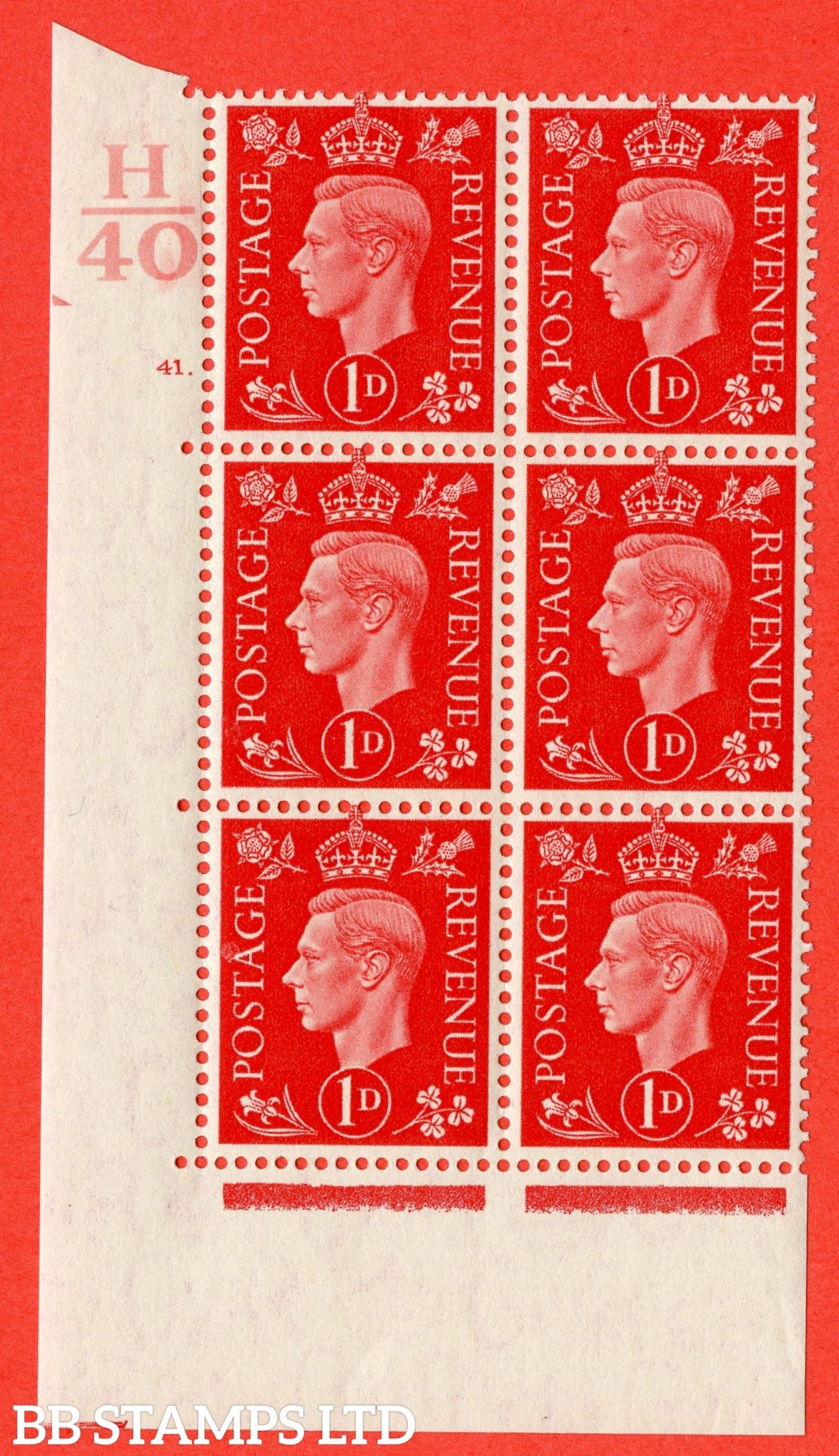 "SG. 463. Q4. 1d Scarlet. A superb UNMOUNTED MINT "" Control H40 cylinder 41 dot "" block of 6 with perf type 5 E/I with marginal rule."