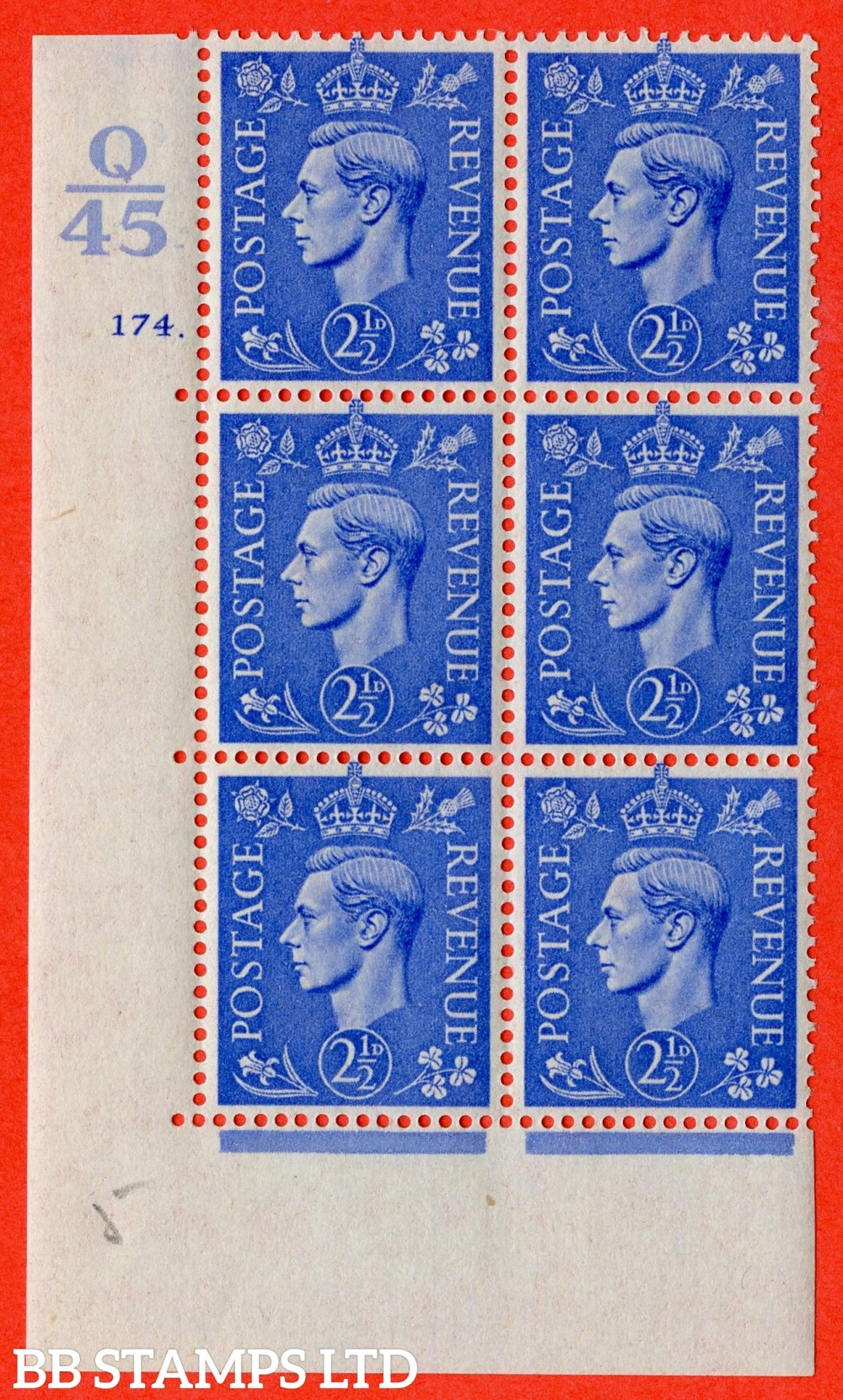 "SG. 489. Q14. 2½d Light ultramarine. A fine lightly mounted mint "" Control Q45 cylinder 174 dot "" control block of 6 with perf type 5 E/I."