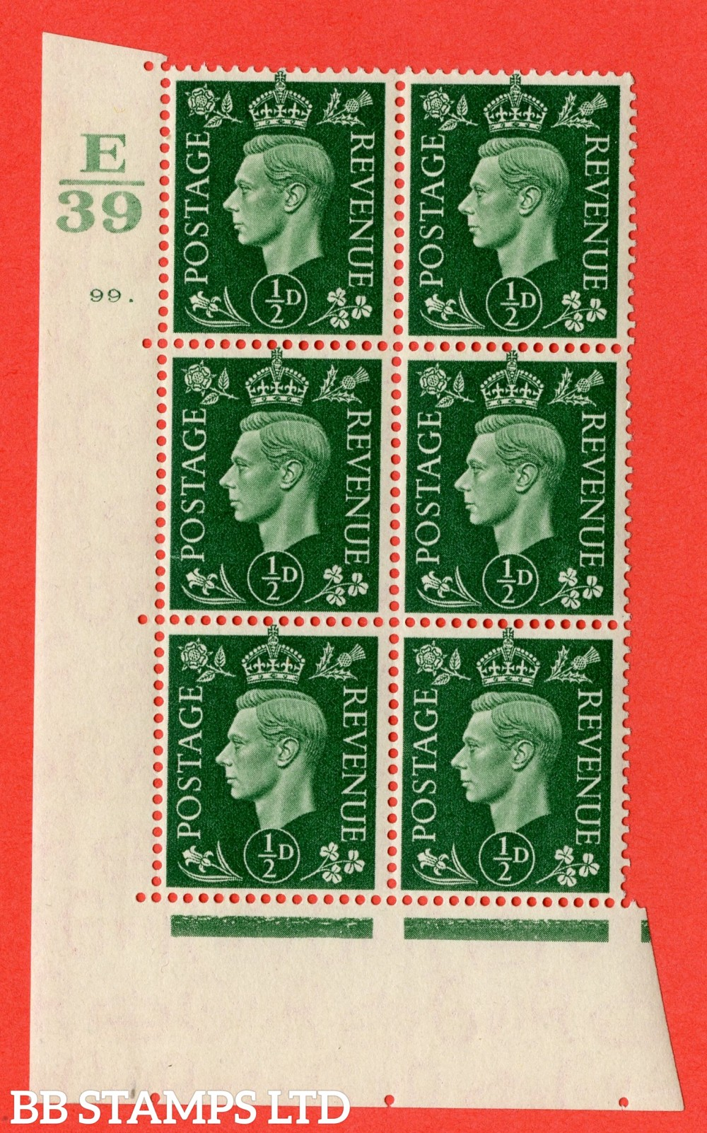 "SG. 462. Q1. ½d Green. A superb UNMOUNTED MINT "" Control E39 cylinder 99 dot "" block of 6 with perf type 5 E/I with marginal rule."