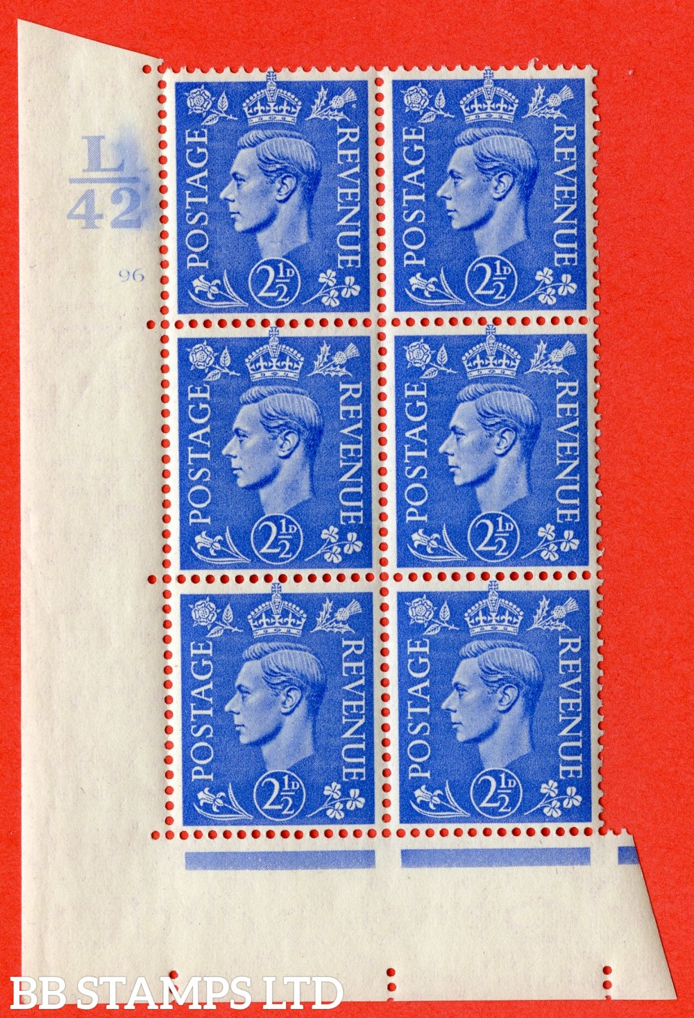 """SG. 489. Q14. 2½d Light ultramarine. A superb UNMOUNTED MINT """" Control L42 cylinder 96 dot """" control block of 6 with perf type 5 E/I."""