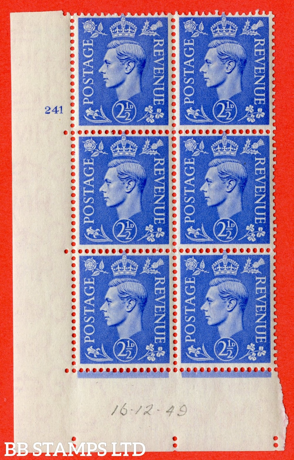 "SG. 489. Q14. 2½d Light ultramarine. A superb UNMOUNTED MINT "" No Control cylinder 241 no dot "" control block of 6 with perf type 5 E/I"