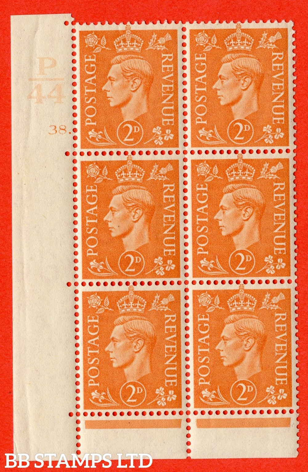 """SG. 488. Q11. 2d Pale Orange. A superb UNMOUNTED MINT """" Control P44 cylinder 38 dot """" control block of 6 with perf type 6B E/P."""