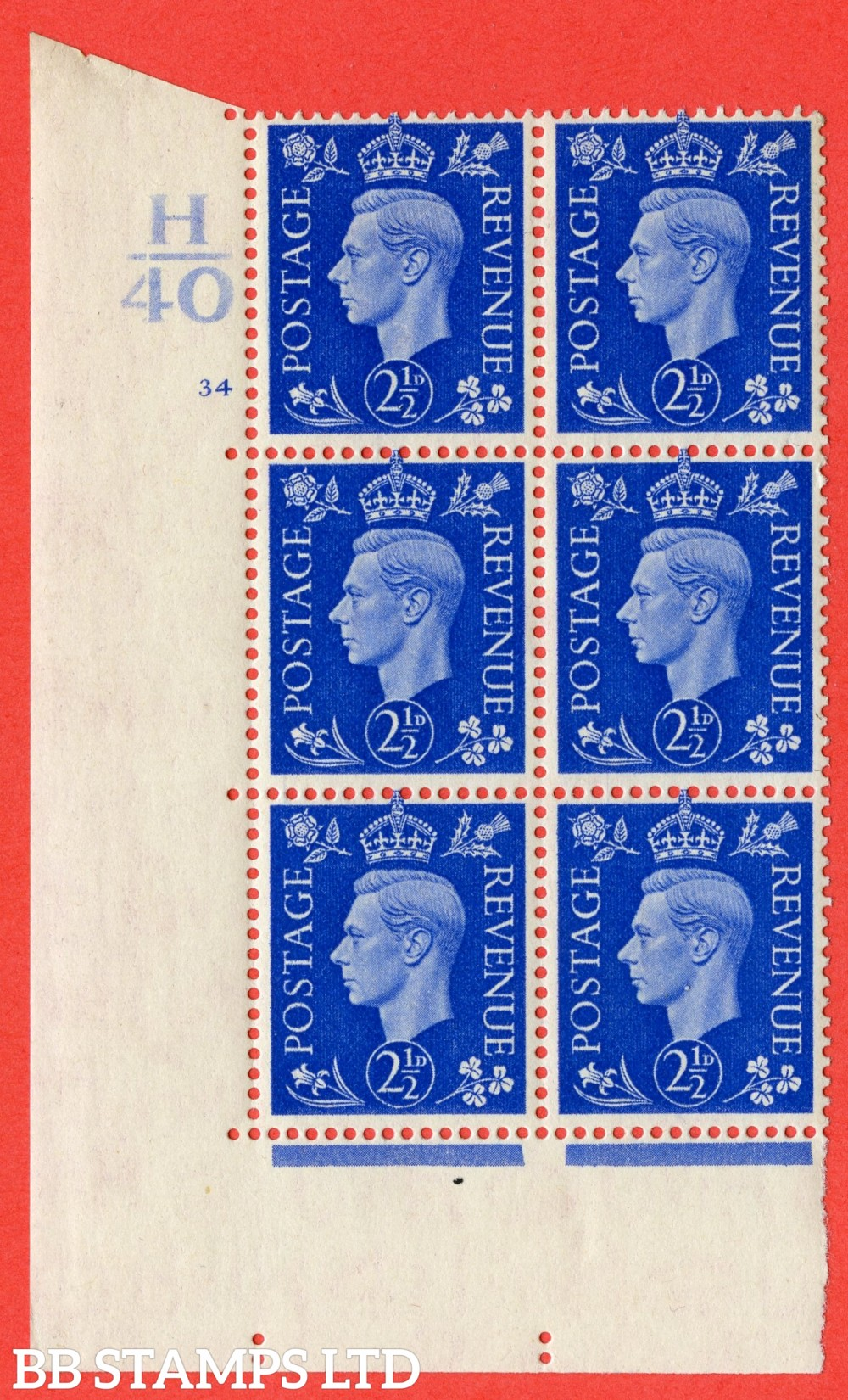 """SG. 466. d. Q13. 2½d Ultramarine.  A superb UNMOUNTED MINT """" Control H40 cylinder 34 no dot """" control block of 6 with perf type 5 E/I."""