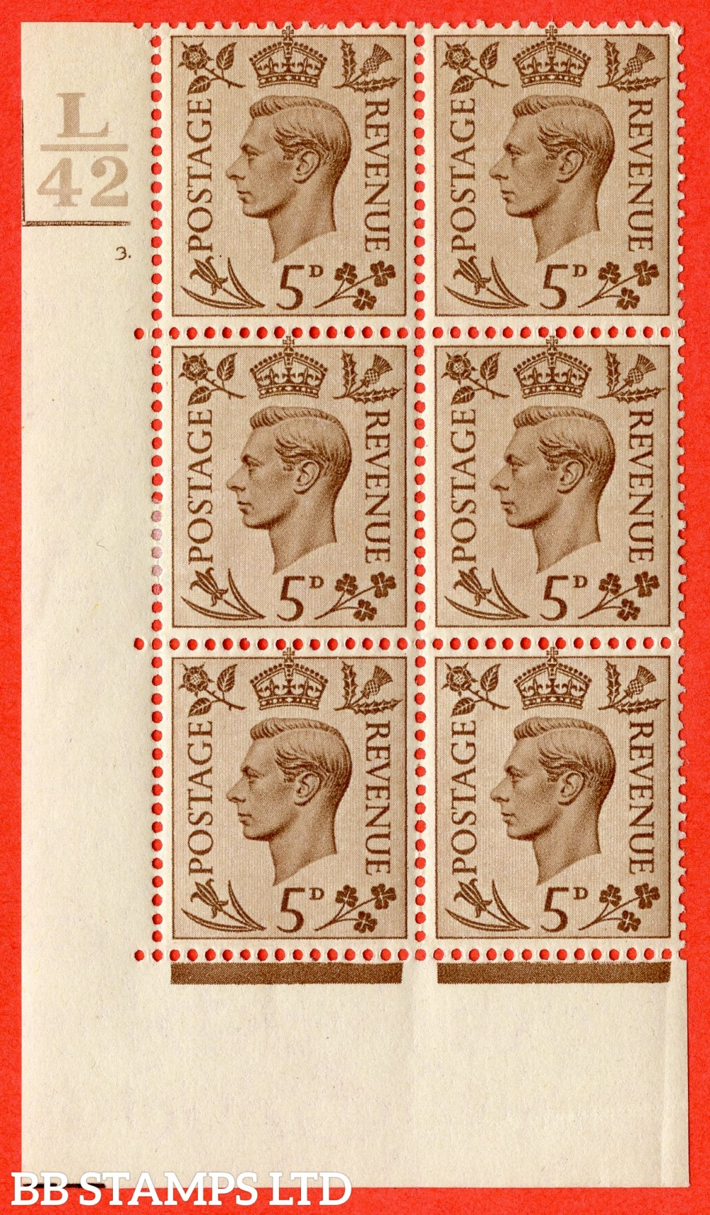 """SG. 469. Q21. 5d Brown. A fine lightly mounted mint.  """" Control L42. 2 Bars cylinder 3 dot """" control block of 6 with perf type 5 E/I."""