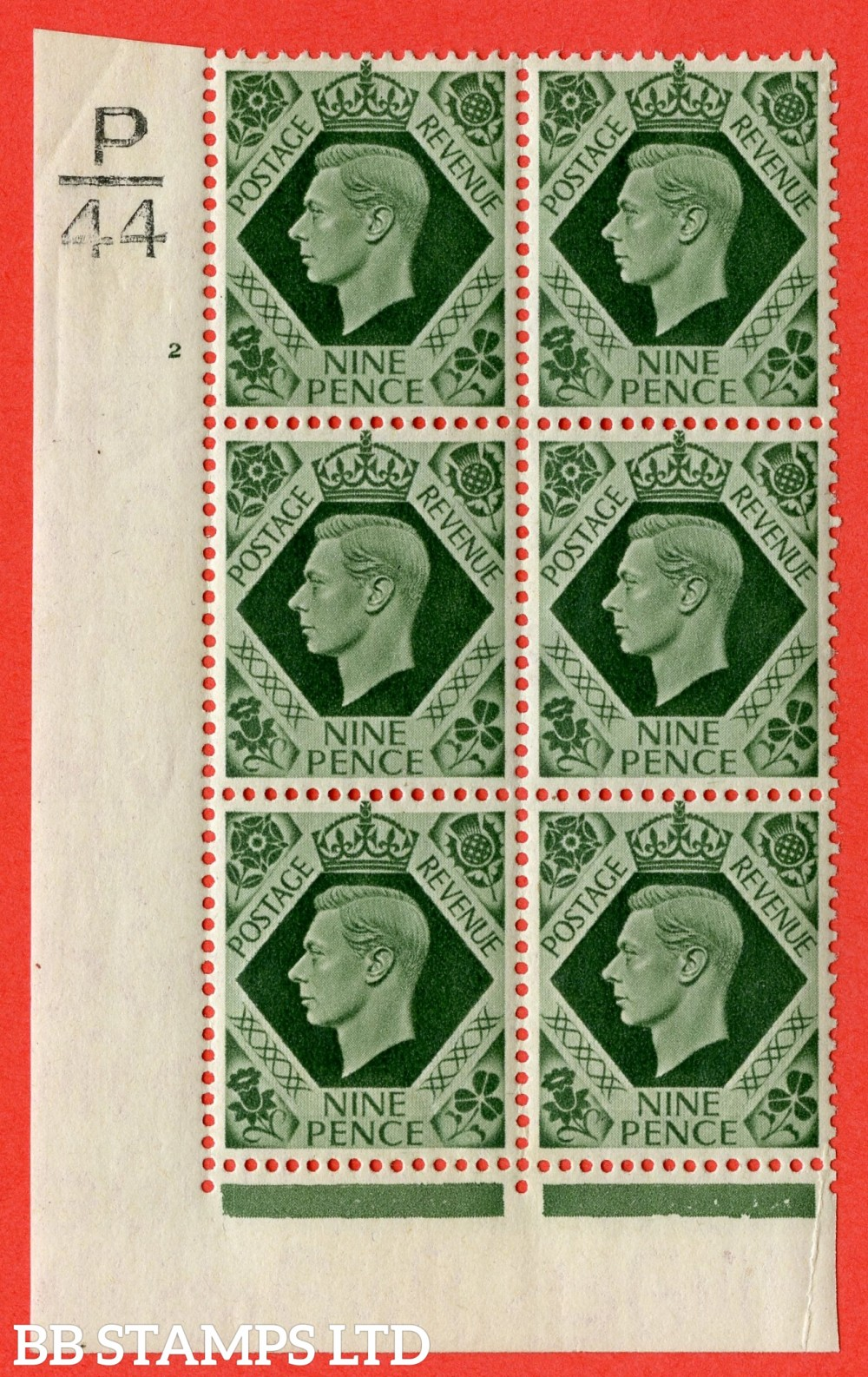 "SG. 473. Q25 b. 9d Olive-Green. A fine lightly mounted mint "" Control P44 cylinder 2 no dot "" control block of 6 with perf type 2 I/E with listed variety "" Serif touched out but dot remains "" Row 18/1."
