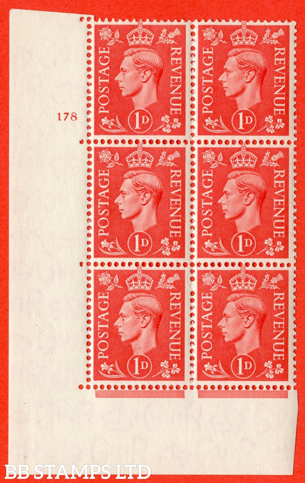 "SG. 486. Q5. 1d Pale scarlet. A superb UNMOUNTED MINT "" No Control   cylinder 178 no dot "" control block of 6 with perf type 5 E/I."