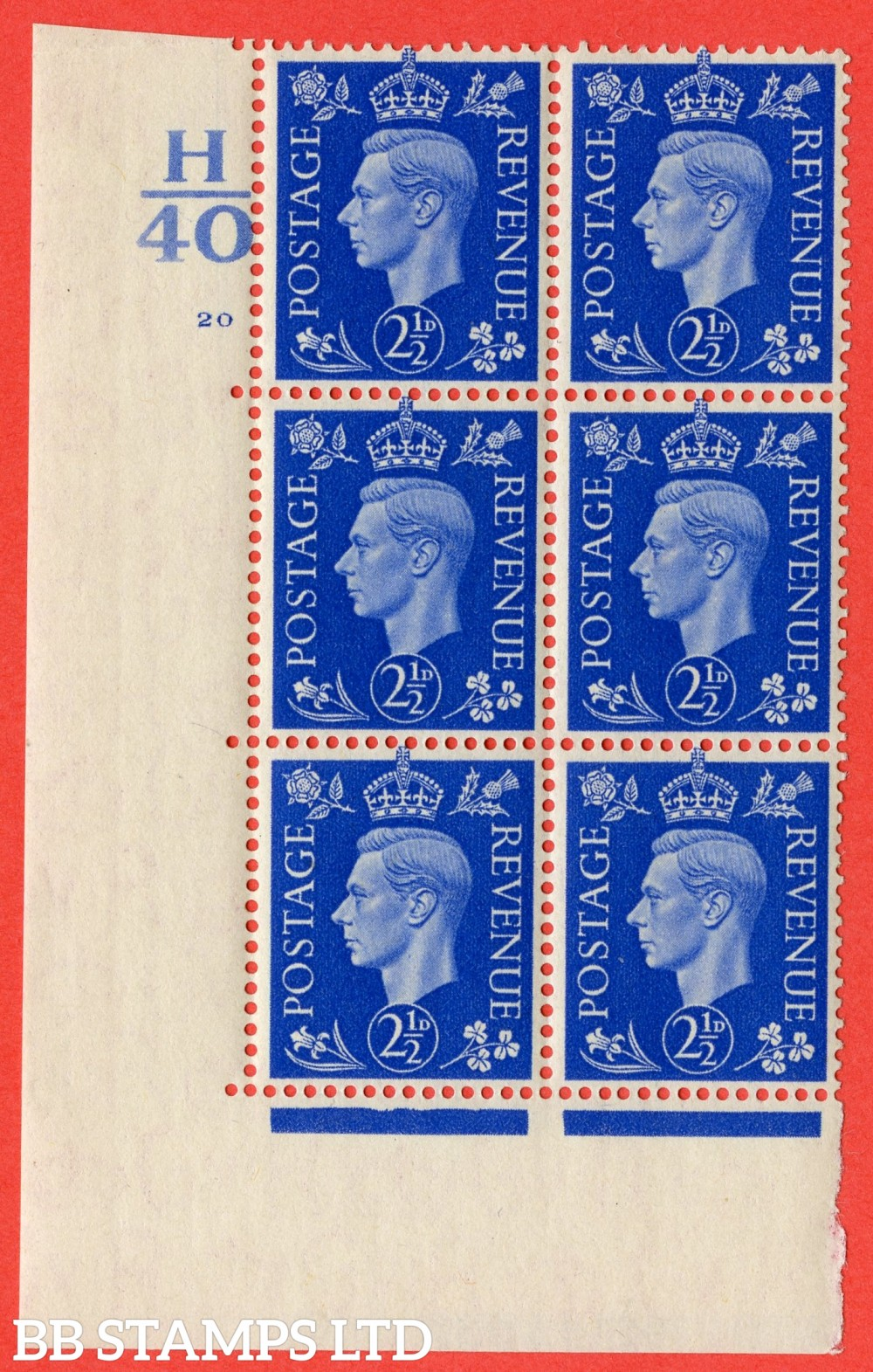 "SG. 466. Q13. 2½d Ultramarine. A fine lightly mounted mint "" Control H40 cylinder 20 no dot "" control block of 6 with perf type 5 E/I."