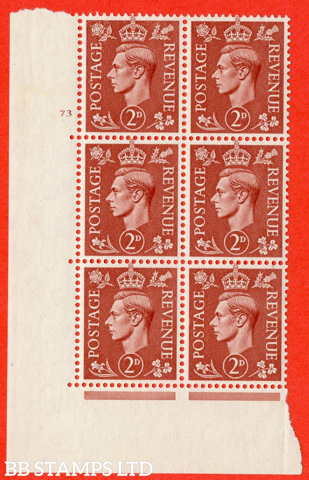 "SG. 506. Q12. 2d Pale Red-Brown. A superb UNMOUNTED MINT "" No Control cylinder 73 no dot "" control block of 6 with perf type 5 I/E."