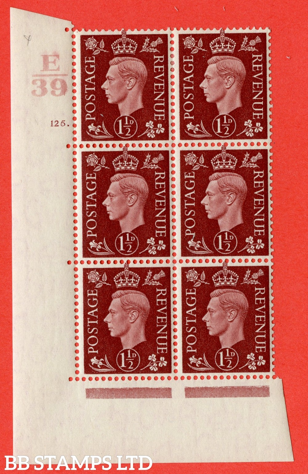 """SG. 464. Q7. 1½d Red-Brown. A fine lightly mounted mint """" Control E39 cylinder 125 dot """" block of 6 with perf type 5 E/I."""