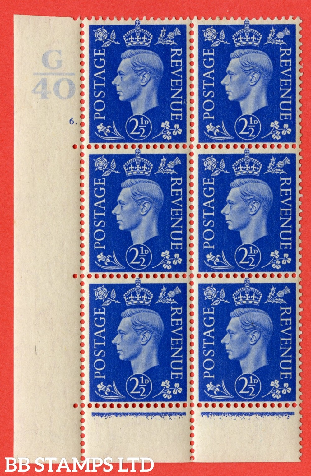 "SG. 466. Q13. 2½d Ultramarine. A fine lightly mounted mint "" Control G40 cylinder 6 (i) dot "" control block of 6 with perf type 6B E/P."