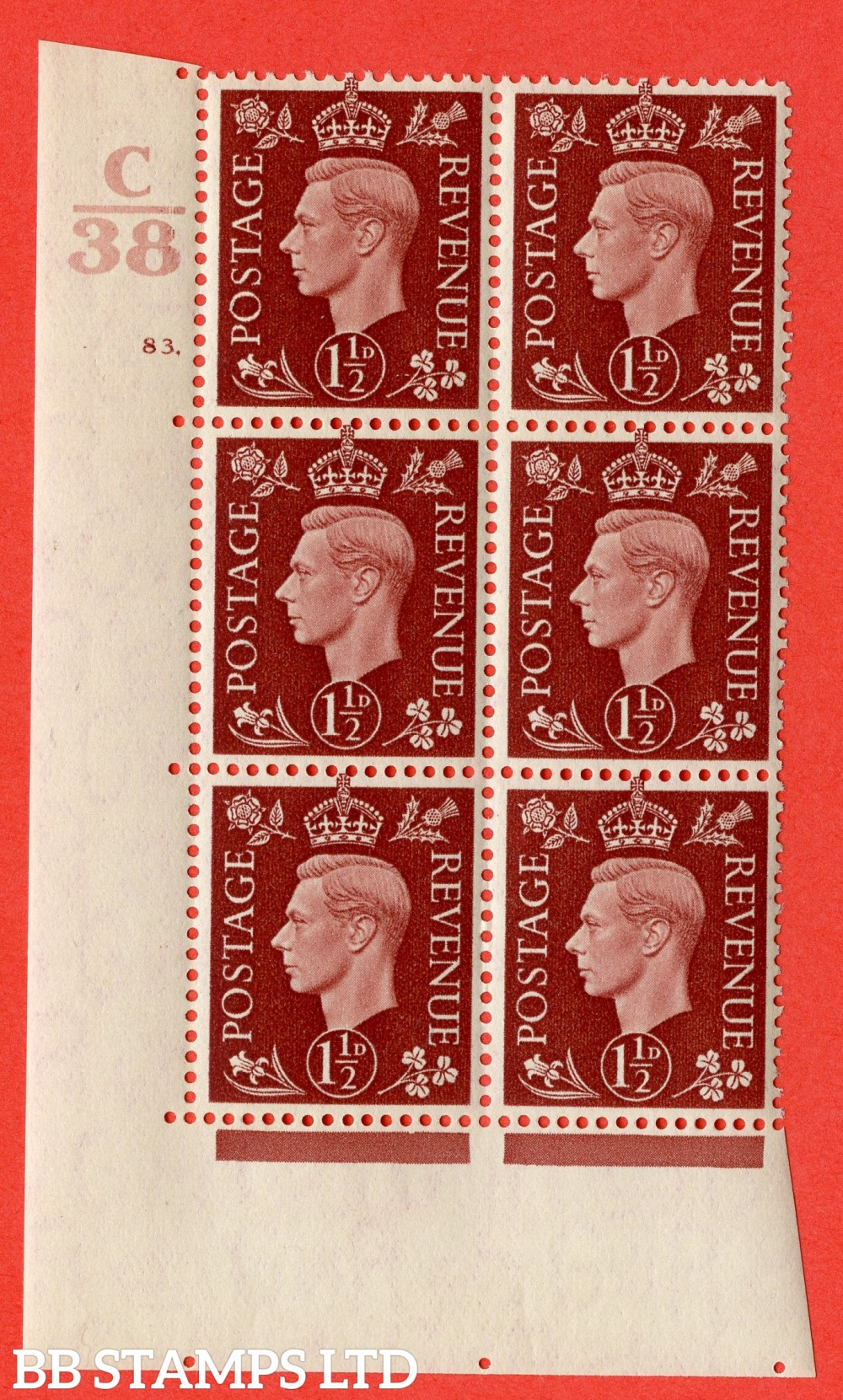 """SG. 464. Q7. 1½d Red-Brown. A superb UNMOUNTED MINT """" Control C38 cylinder 83 dot """" block of 6 with perf type 5 E/I."""