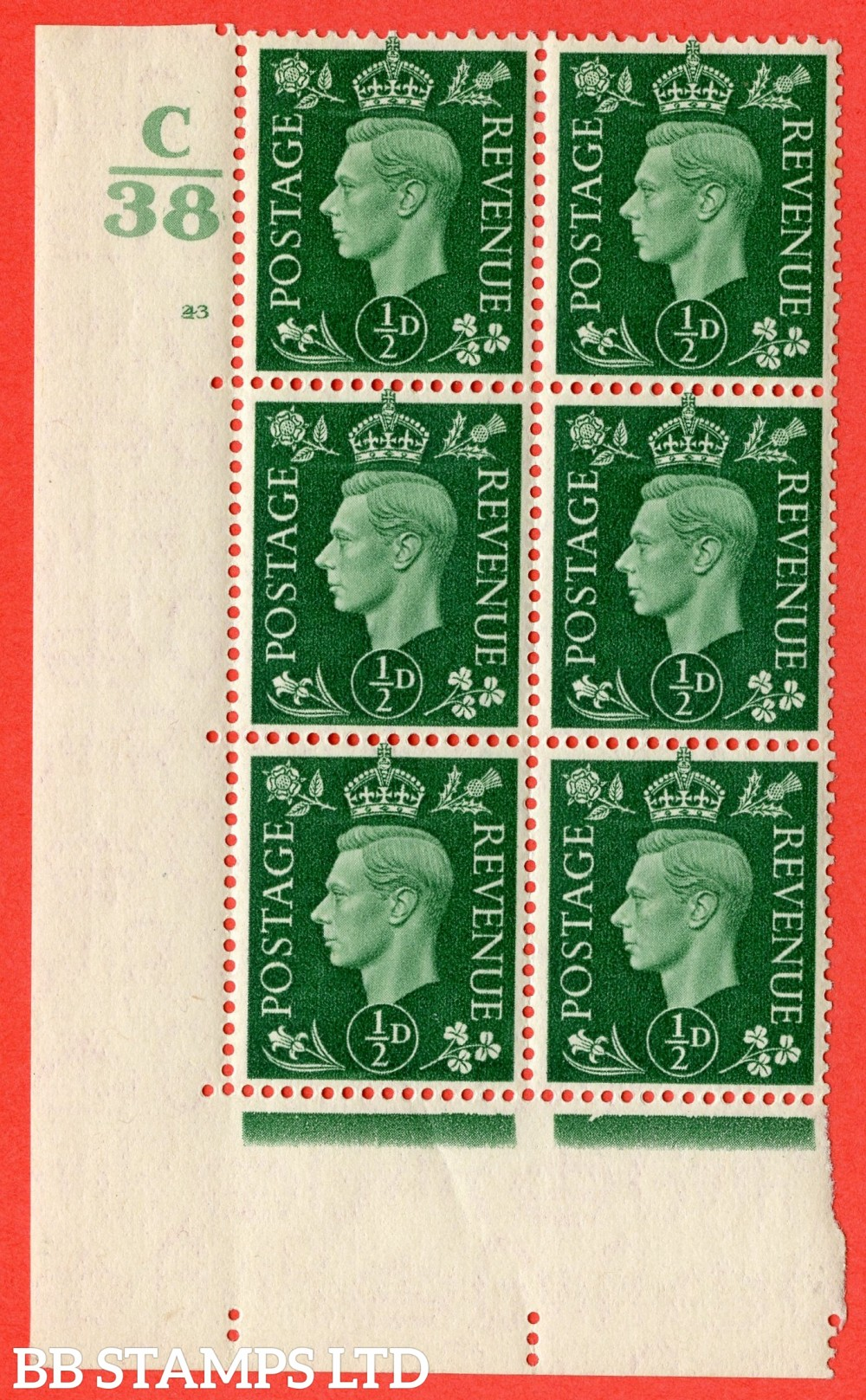 """SG. 462. Q1. ½d Green. A fine lightly mounted mint """" Control C38 cylinder 43 (i) dot """" block of 6 with perf type 5 E/I with marginal rule."""
