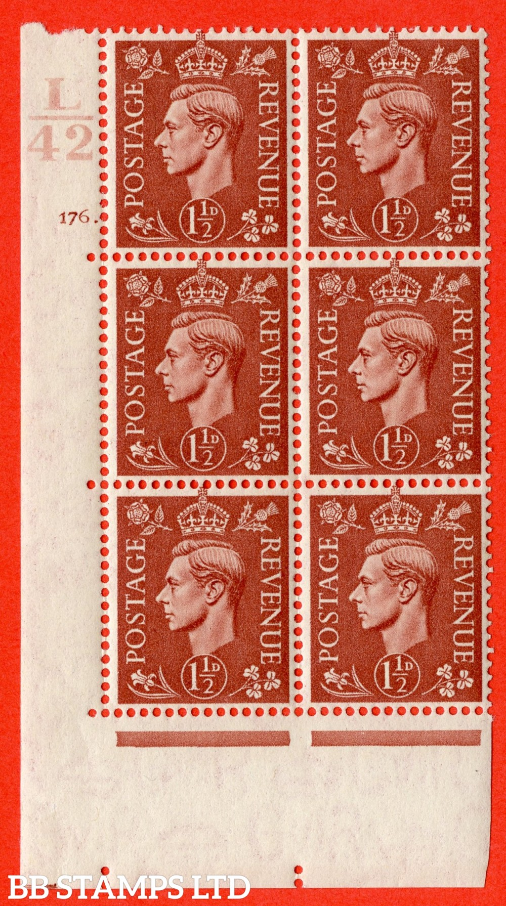 "SG. 487. Q8. 1½d Pale Red-Brown. A superb UNMOUNTED MINT "" Control L42 cylinder 176 dot "" control block of 6 with perf type 5 E/I."