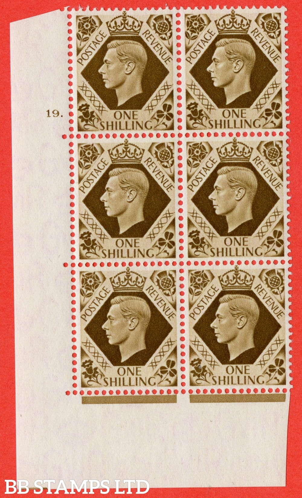 "SG. 475. Q28. 1/- Bistre-Brown. A superb UNMOUNTED MINT "" NO Control  cylinder 19 dot "" control block of 6 with perf type 5 E/I."
