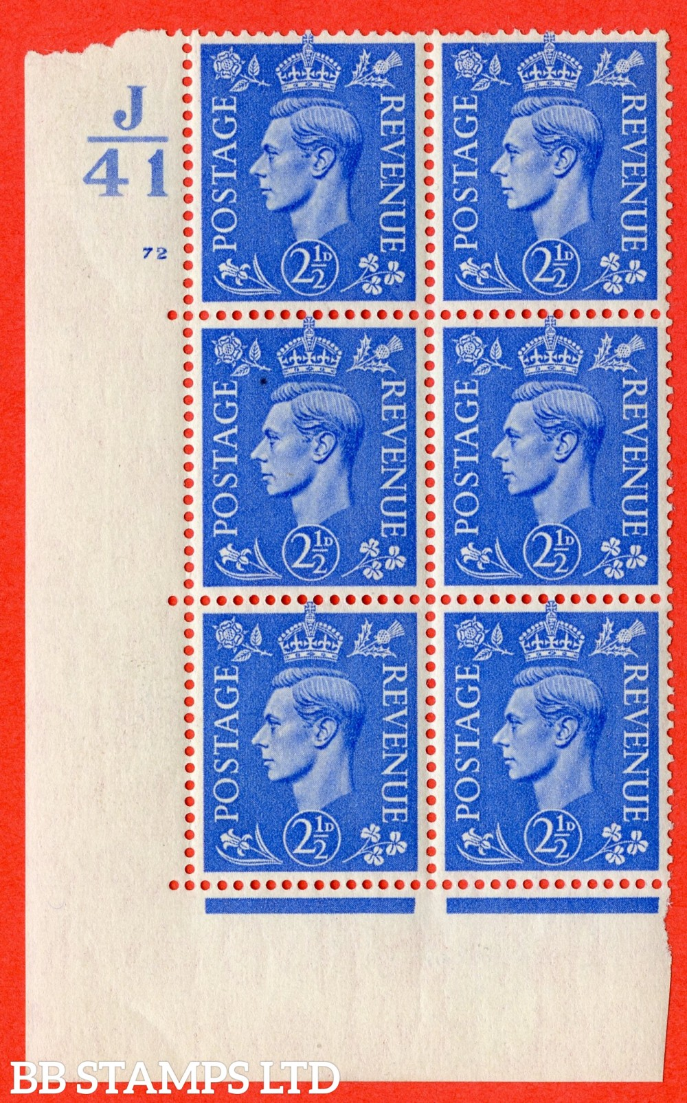 "SG. 489. Q14. 2½d Light ultramarine. A fine lightly mounted mint "" Control  J41 cylinder 72 no dot "" control block of 6 with perf type 5 E/I."