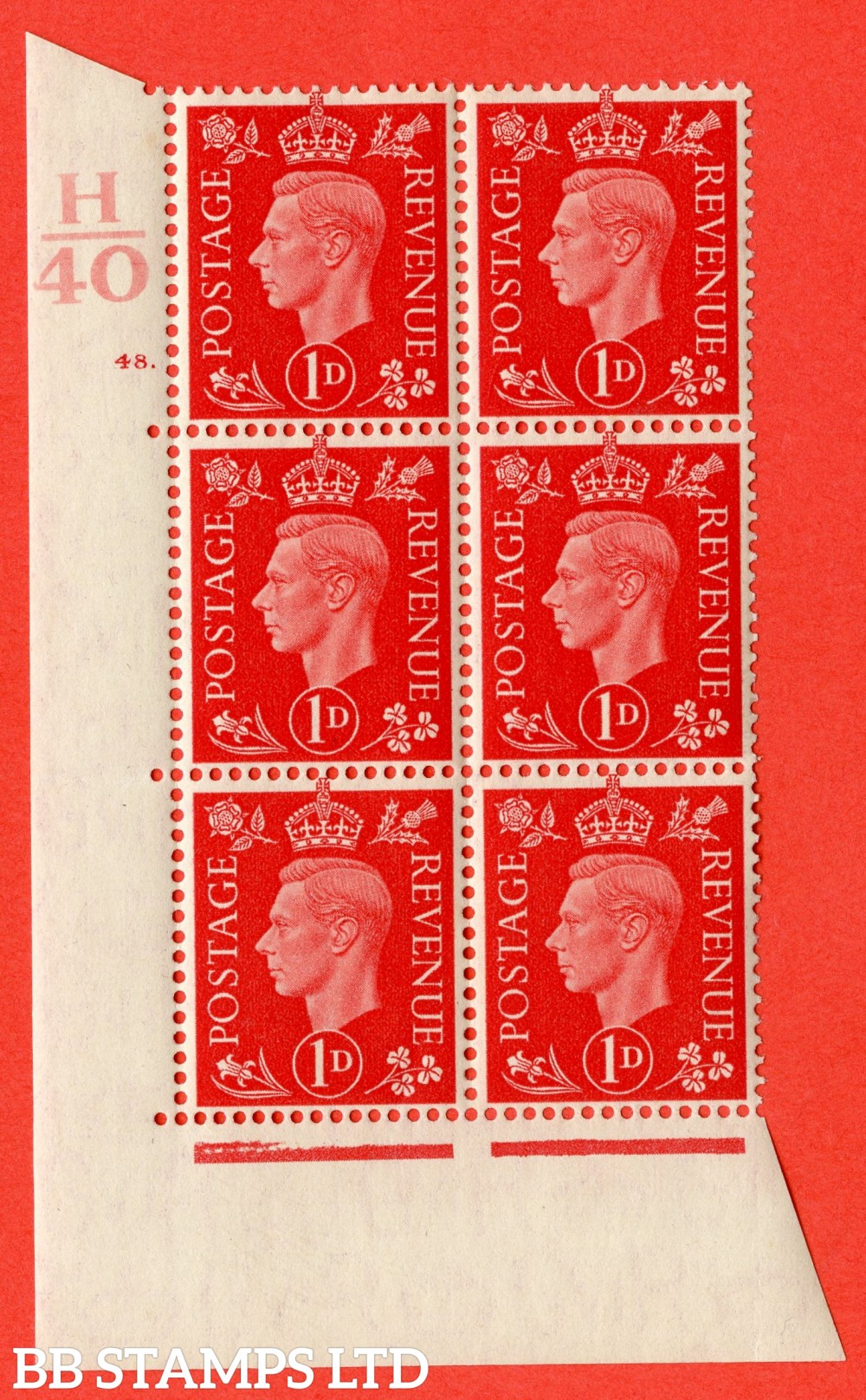 "SG. 463. Q4. 1d Scarlet. A fine lightly mounted mint "" Control H40 cylinder 48 dot "" block of 6 with perf type 5 E/I."