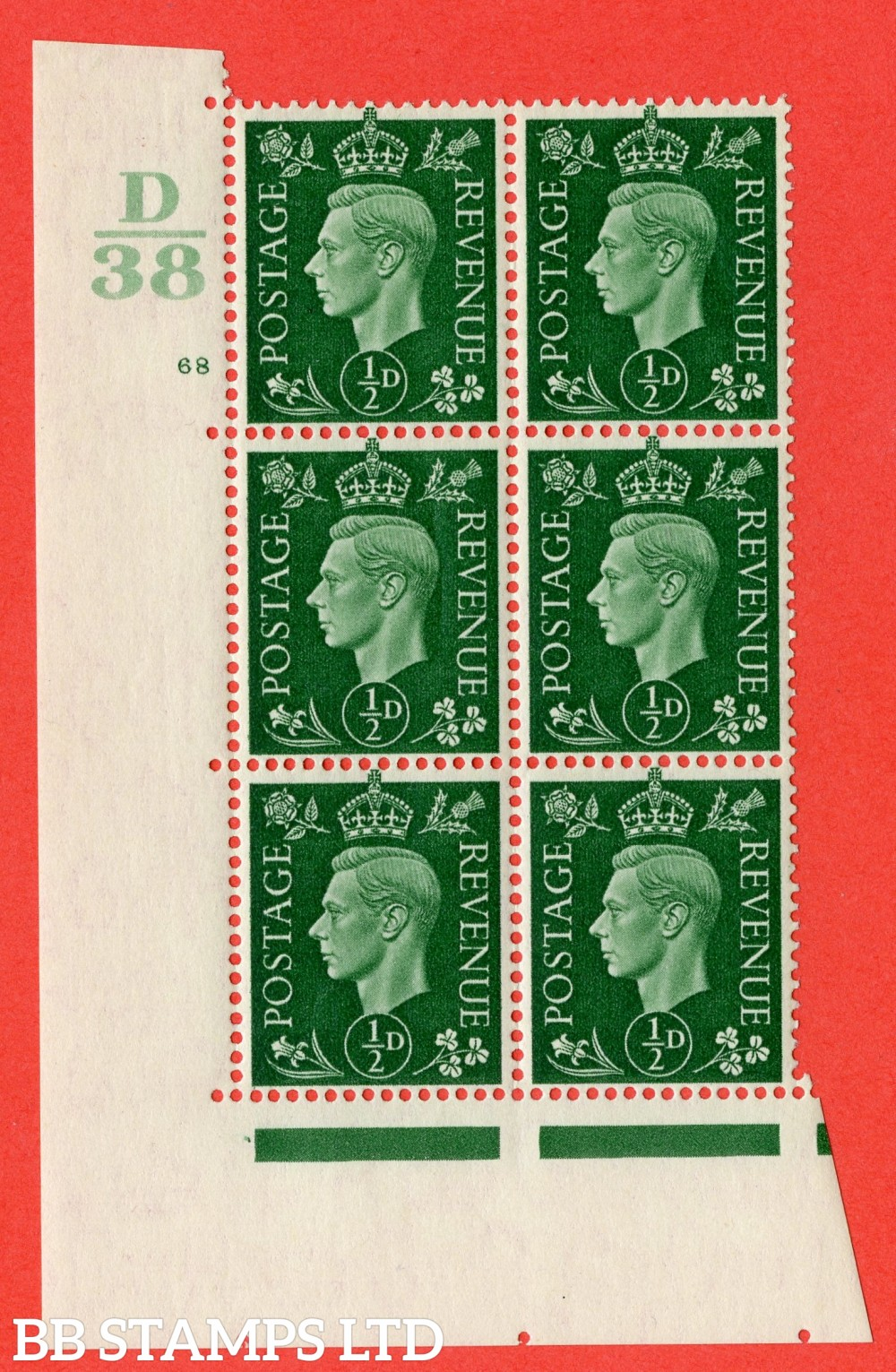 "SG. 462. Q1. ½d Green. A superb UNMOUNTED MINT "" Control D38 cylinder 68 no dot "" block of 6 with perf type 5 E/I."