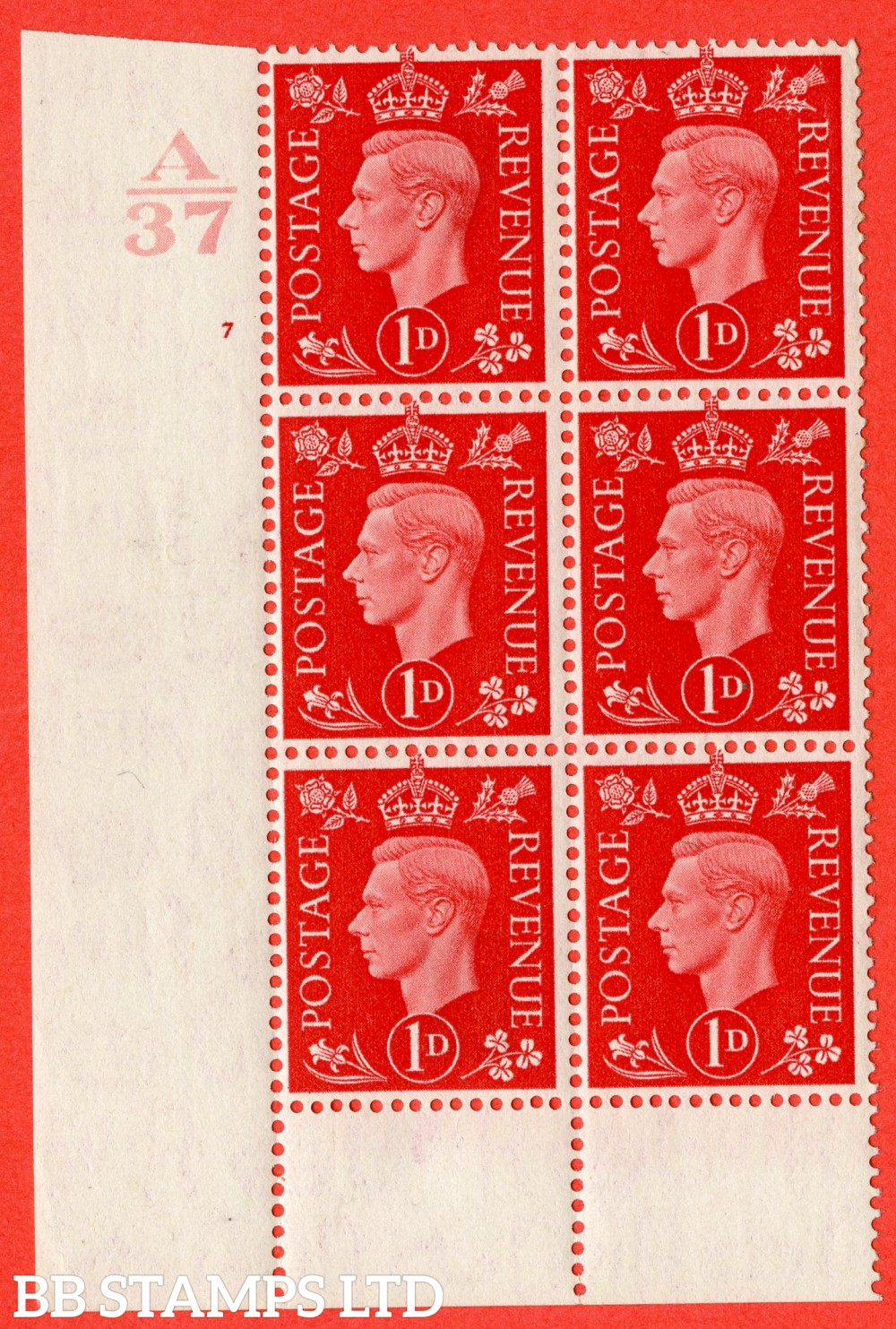 "SG. 463. Q4. 1d Scarlet. A fine lightly mounted mint "" Control A37 cylinder 7 no dot "" block of 6 with perf type 6 I/P without marginal rule."