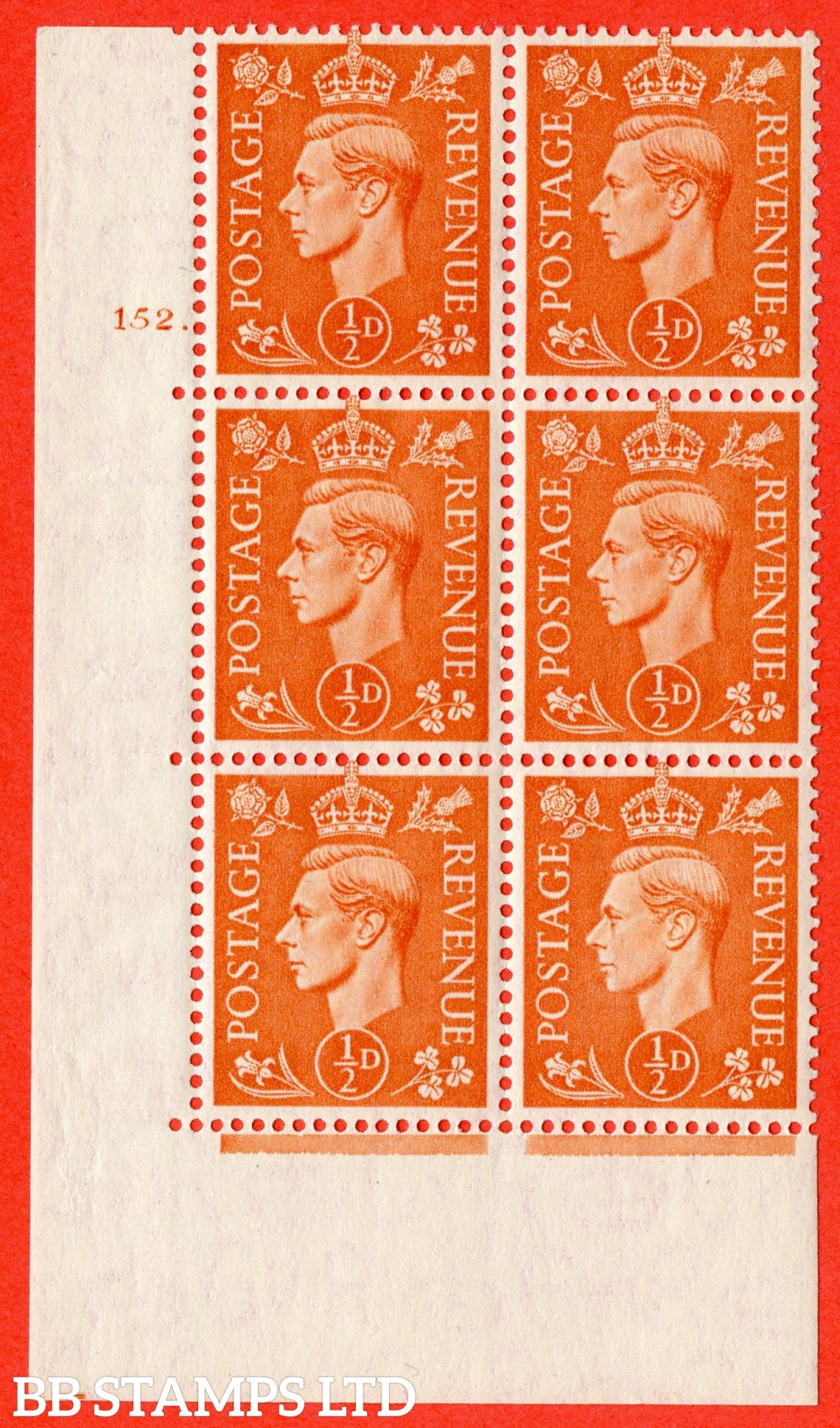 """SG. 503. Q3. ½d Pale Orange. A fine lightly mounted mint """" No Control cylinder 152 dot """" control block of 6 with perf type 5 E/I."""