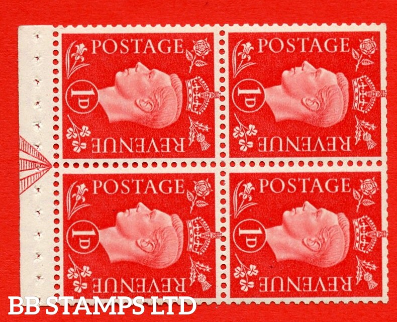 """SG. 463ab. QB11a. 1d scarlet. SIDEWAYS WATERMARK Left. A super UNMOUNTED MINT booklet pane. Perf Type """" I """". Trimmed Perfs."""